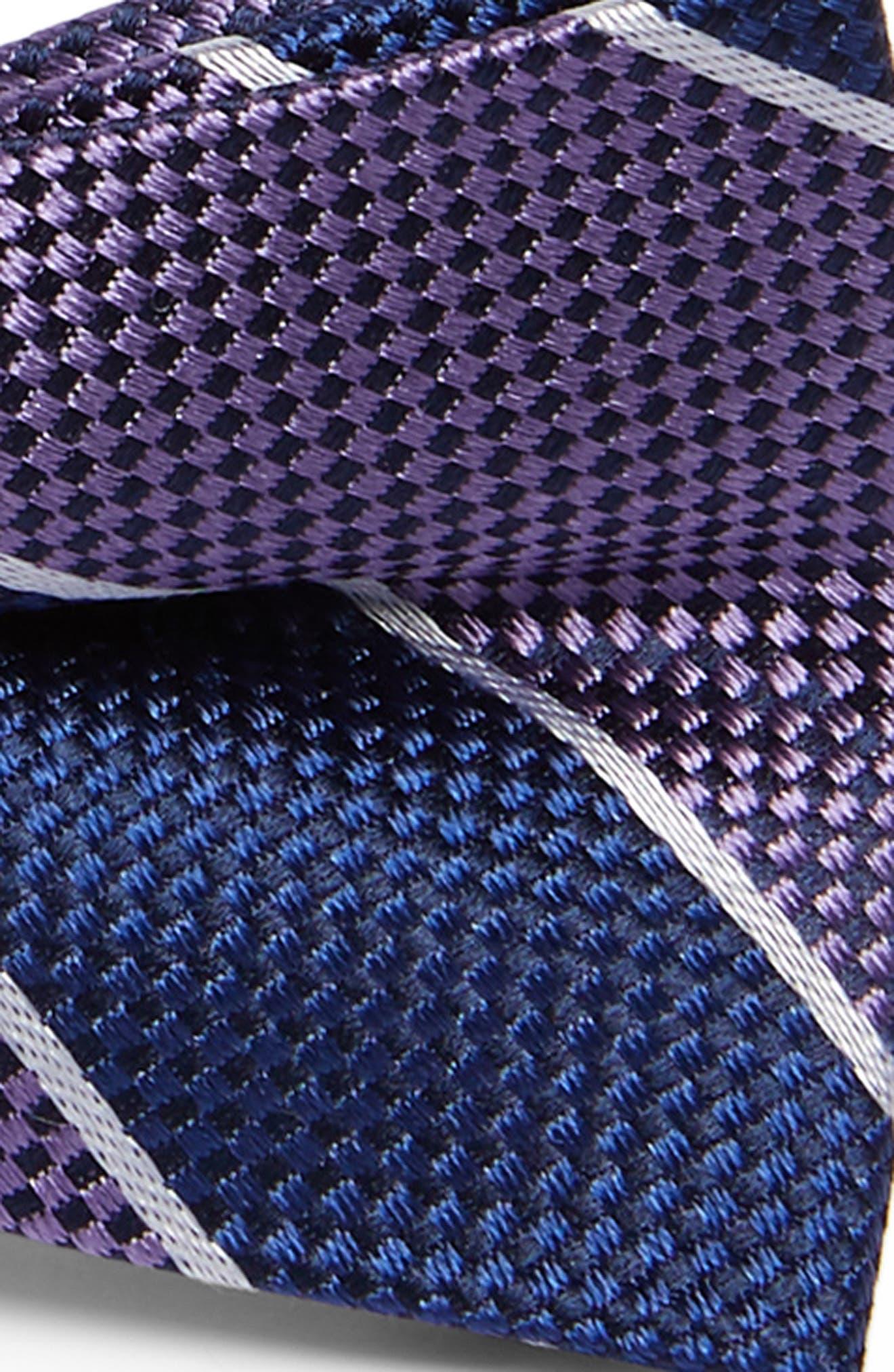 NORDSTROM, Harrison Stripe Silk Bow Tie, Alternate thumbnail 2, color, PURPLE