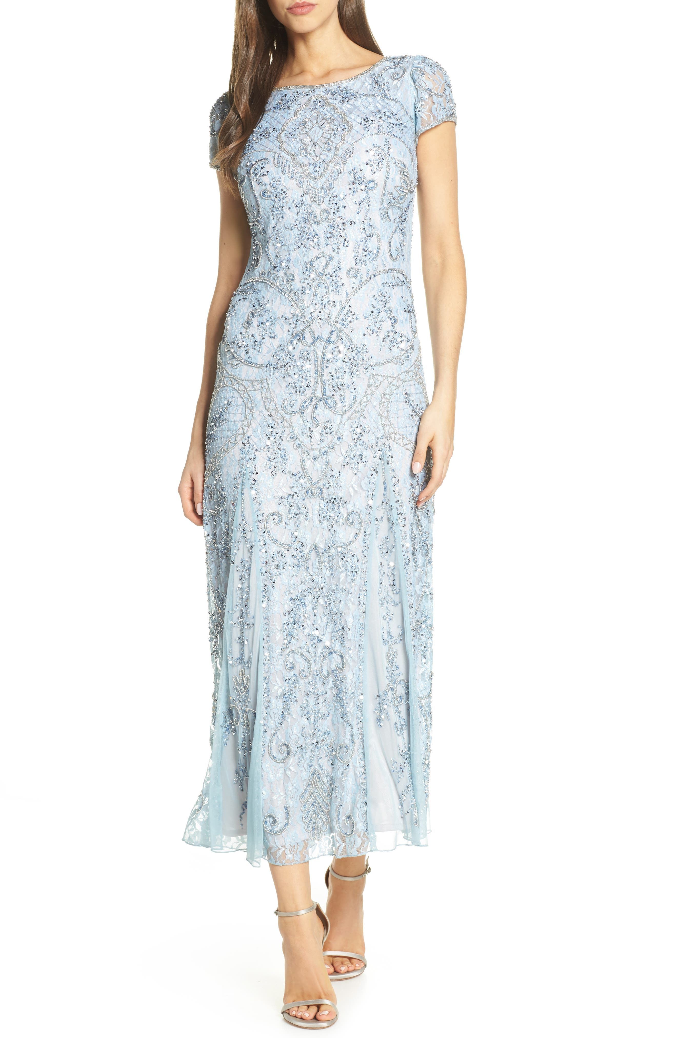 PISARRO NIGHTS, Embellished Lace Gown, Main thumbnail 1, color, SKY BLUE