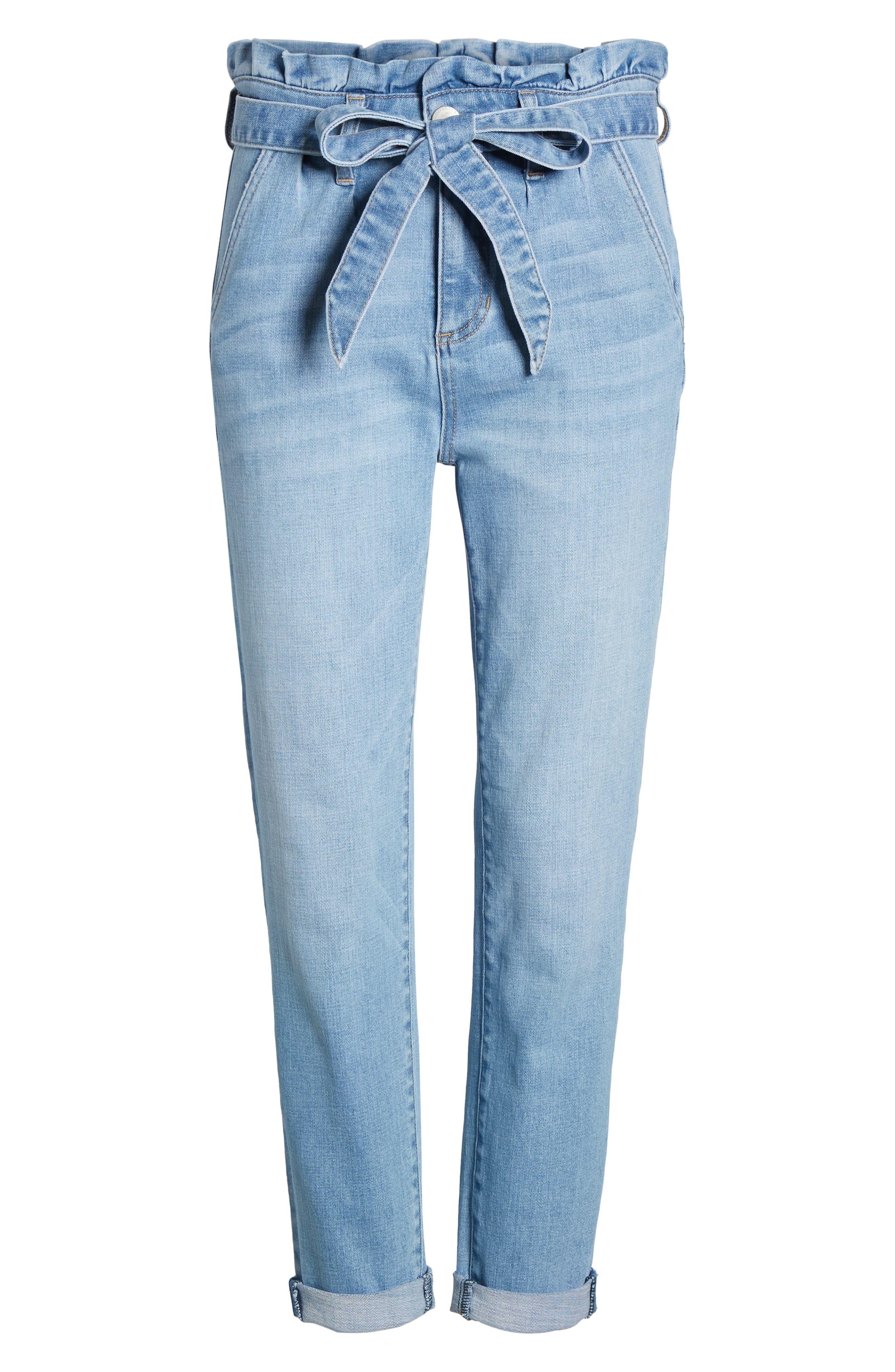 PROSPERITY DENIM, Paperbag Waist Skinny Jeans, Alternate thumbnail 7, color, MEDIUM WASH