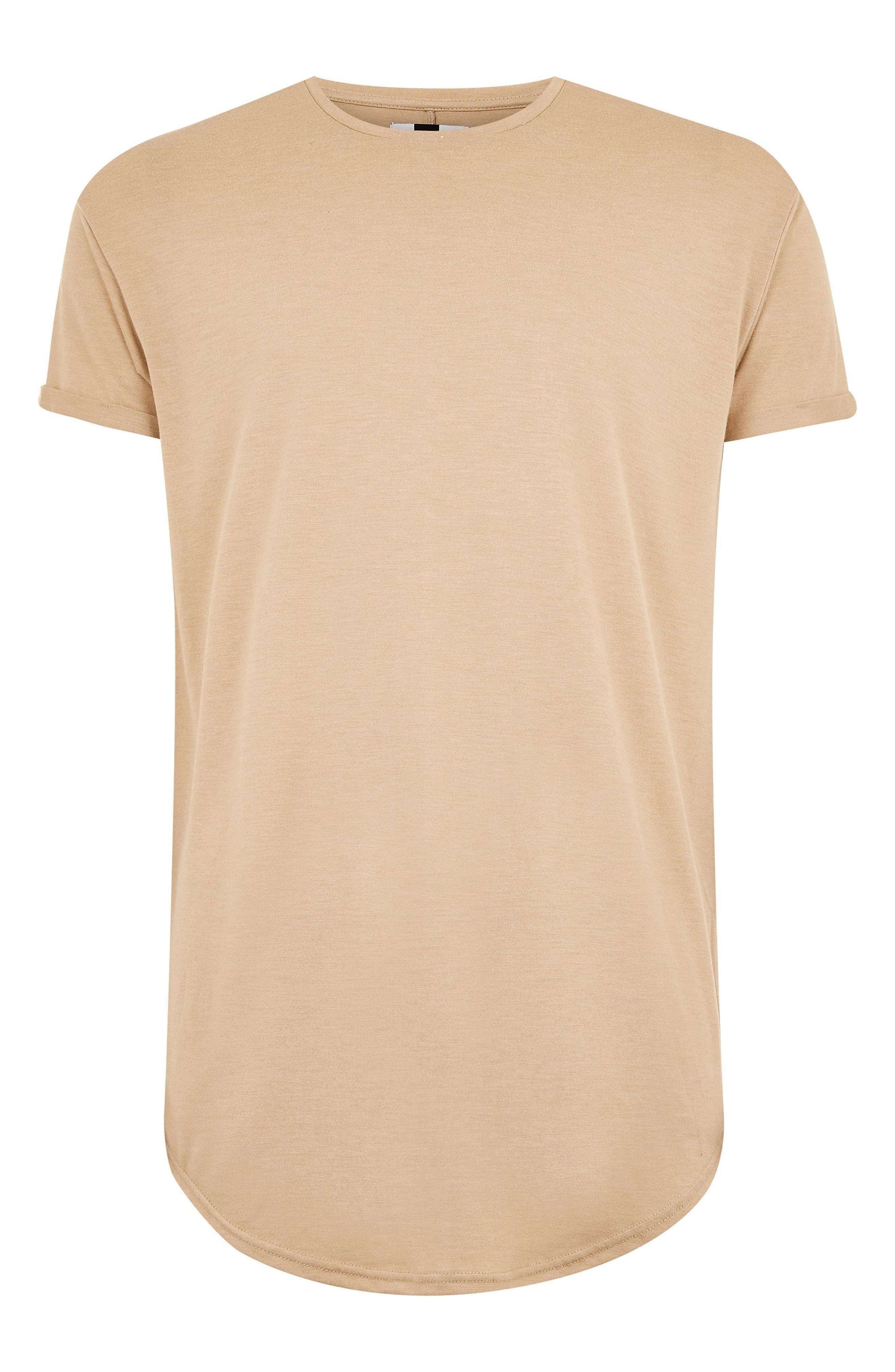 TOPMAN, Scotty Longline T-Shirt, Alternate thumbnail 5, color, STONE