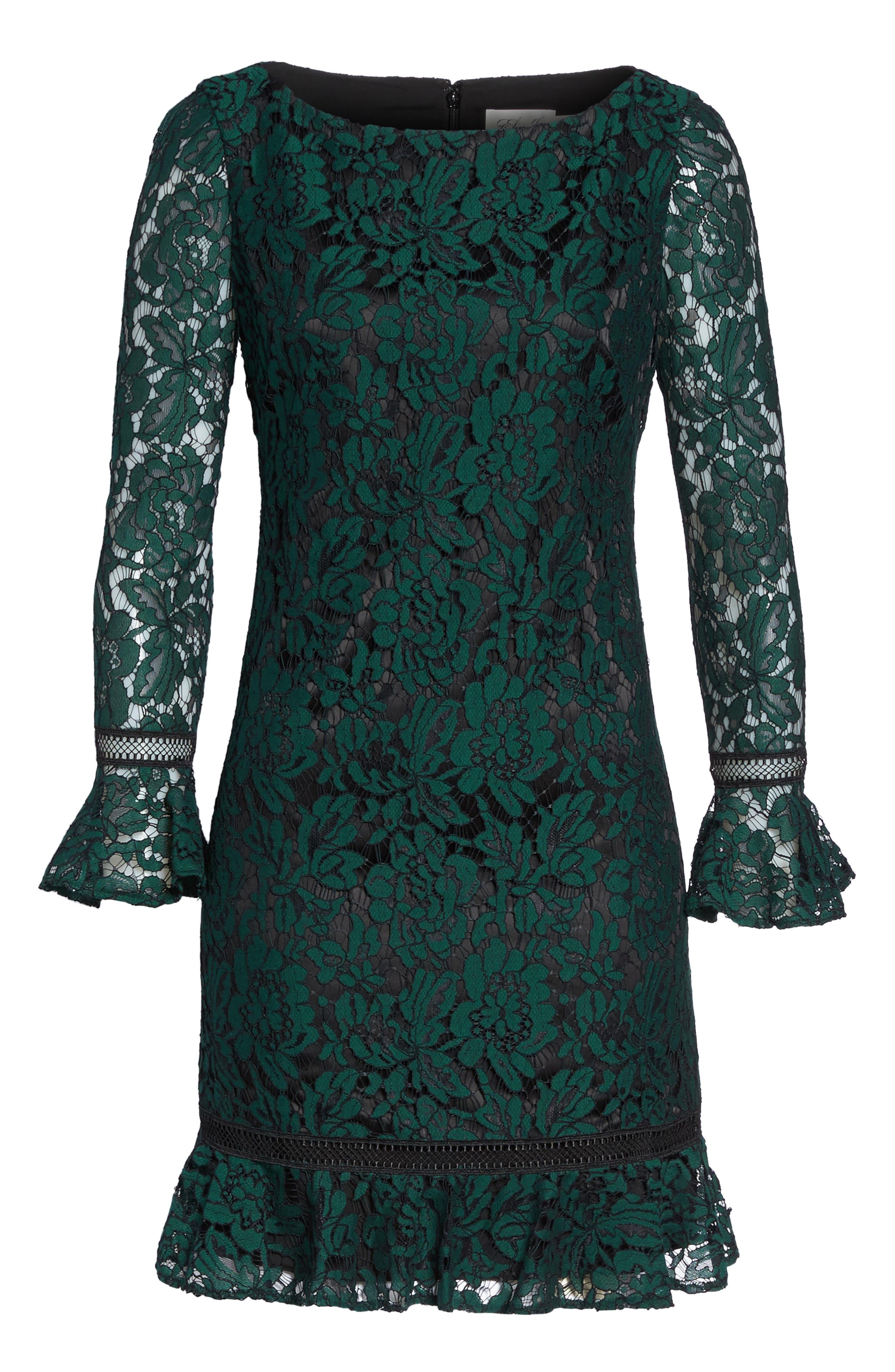 ELIZA J, Bell Sleeve Lace Shift Dress, Alternate thumbnail 7, color, HUNTER