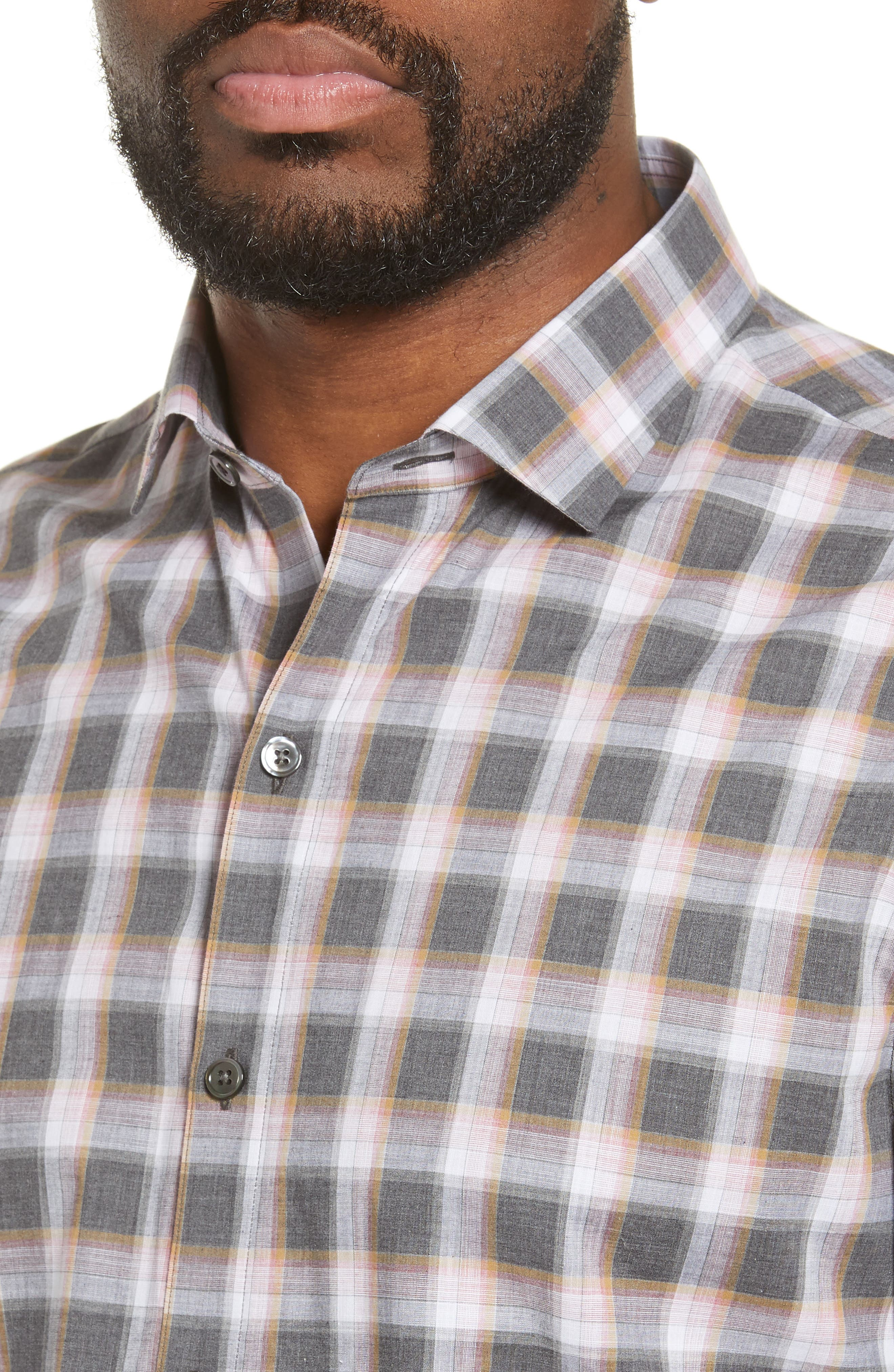 ZACHARY PRELL, Pagatpatan Regular Fit Plaid Sport Shirt, Alternate thumbnail 2, color, GREY