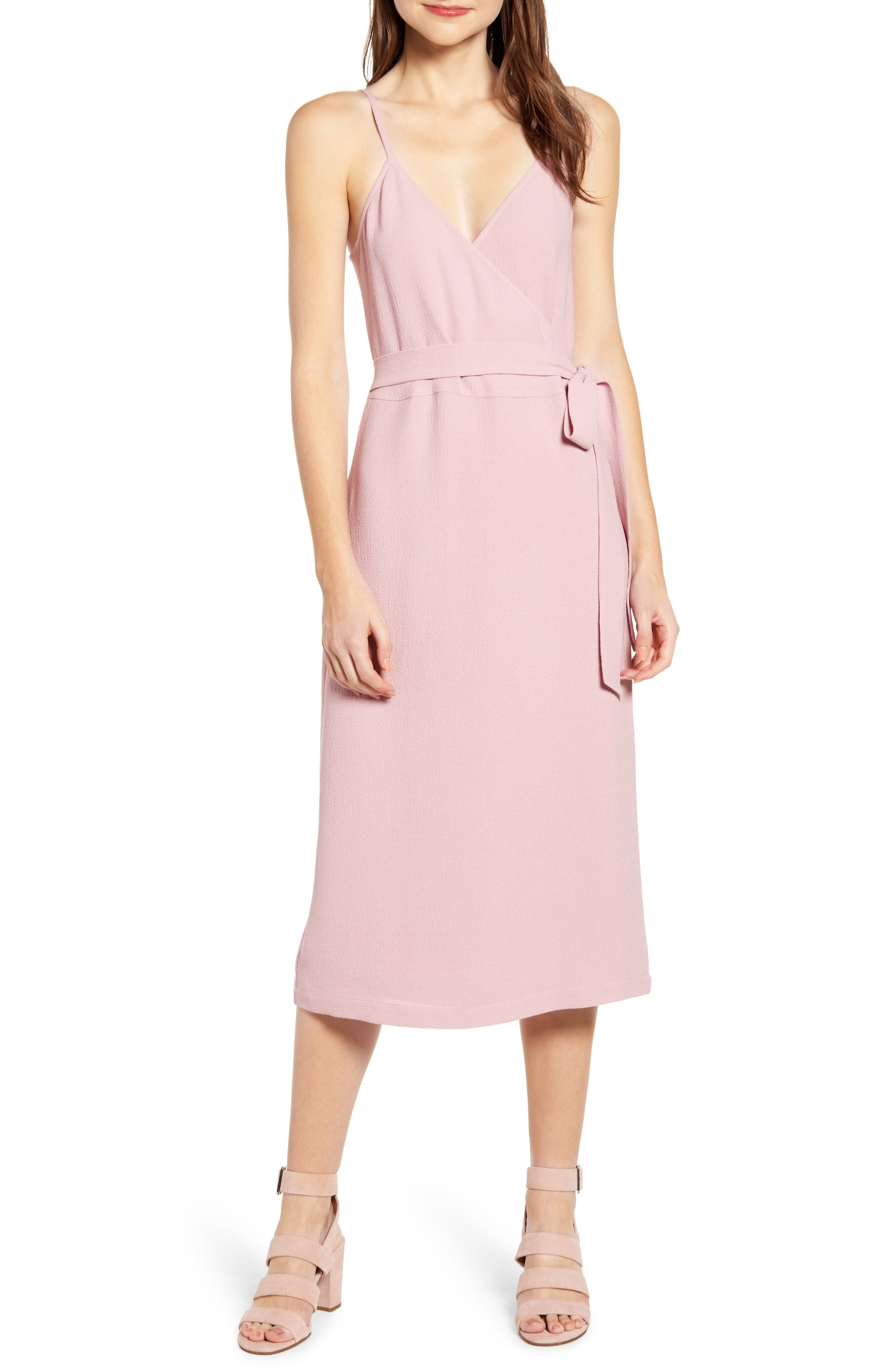 Chelsea28 Crepe Wrap Midi Dress, Pink