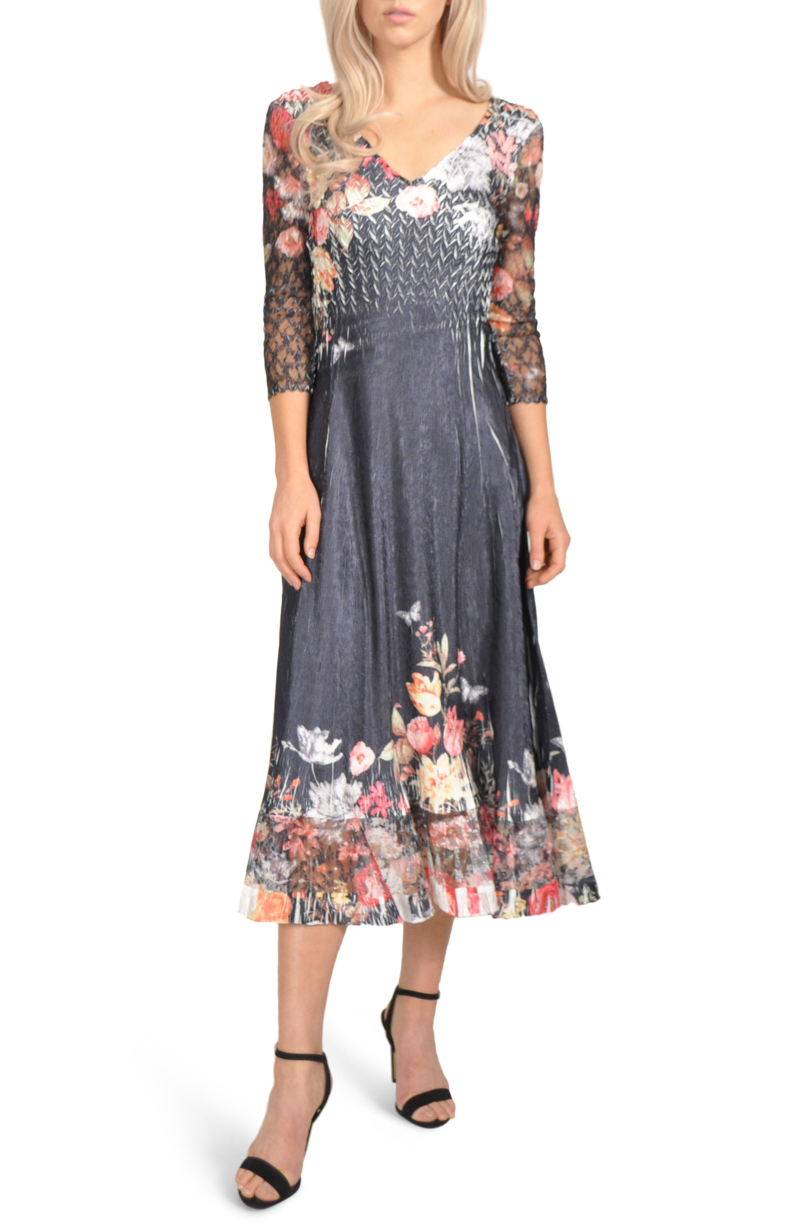 KOMAROV Charmeuse & Chiffon Tea Length Dress, Main, color, 410