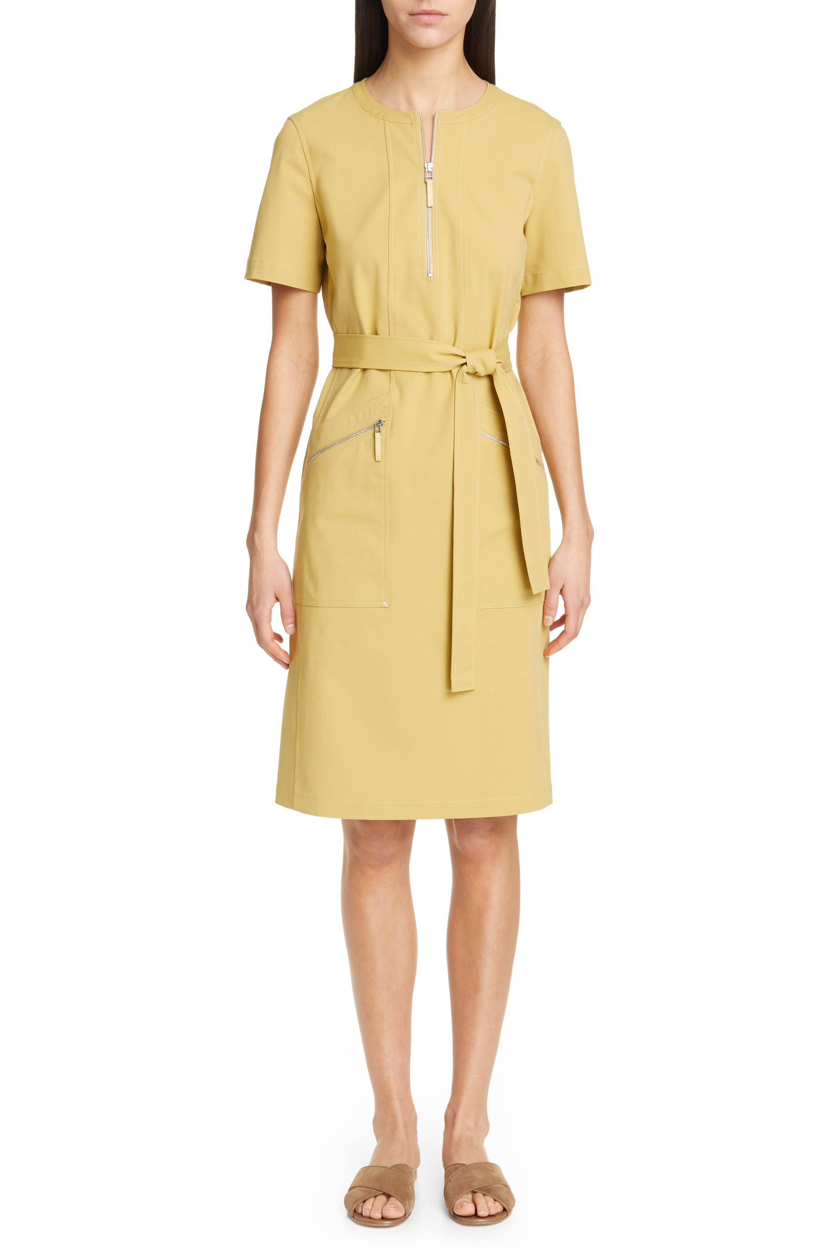 LAFAYETTE 148 NEW YORK Elizabella Belted Dress, Main, color, GREEN TEA