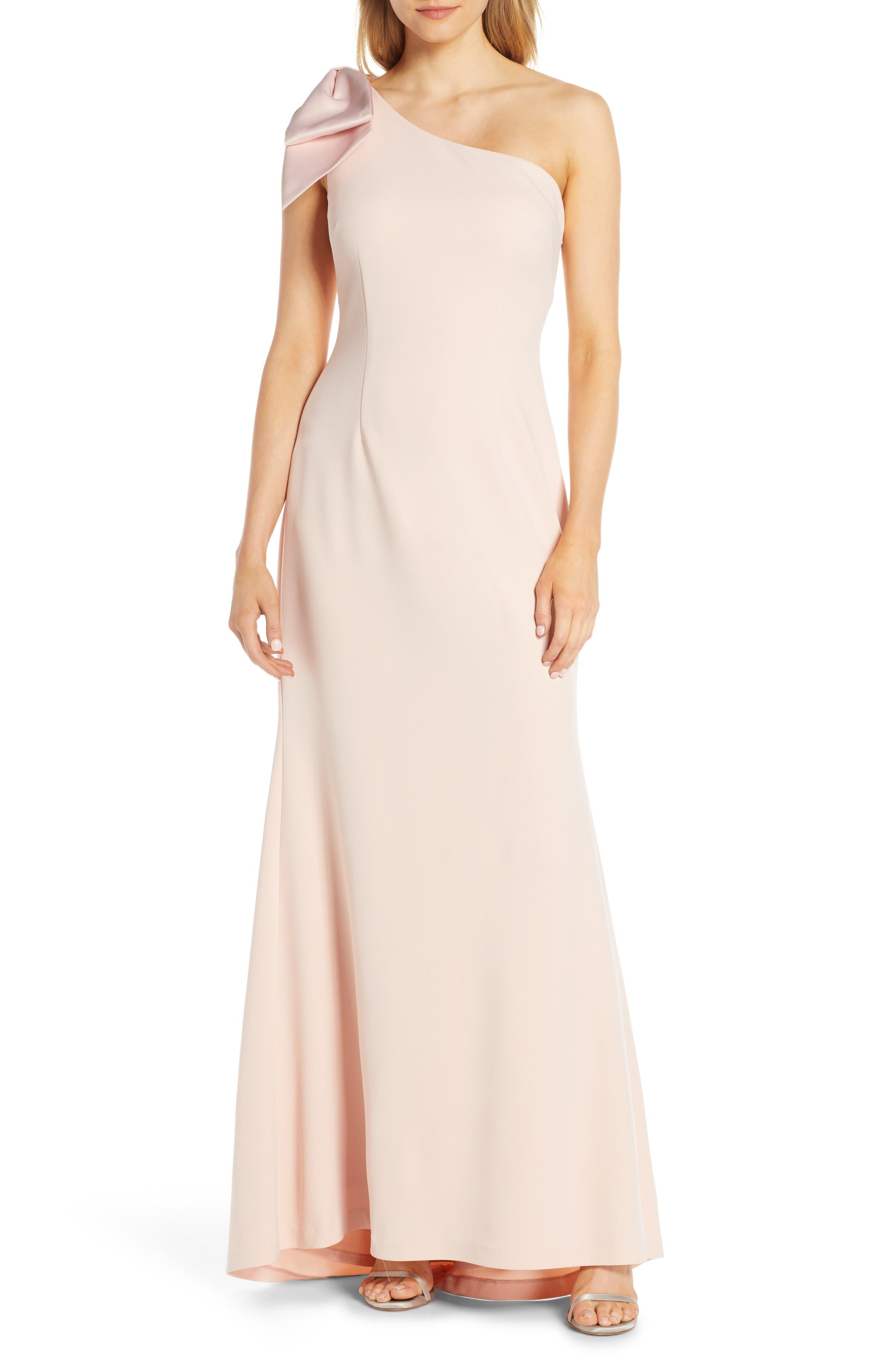 Petite Eliza J One-Shoulder A-Line Gown, Pink