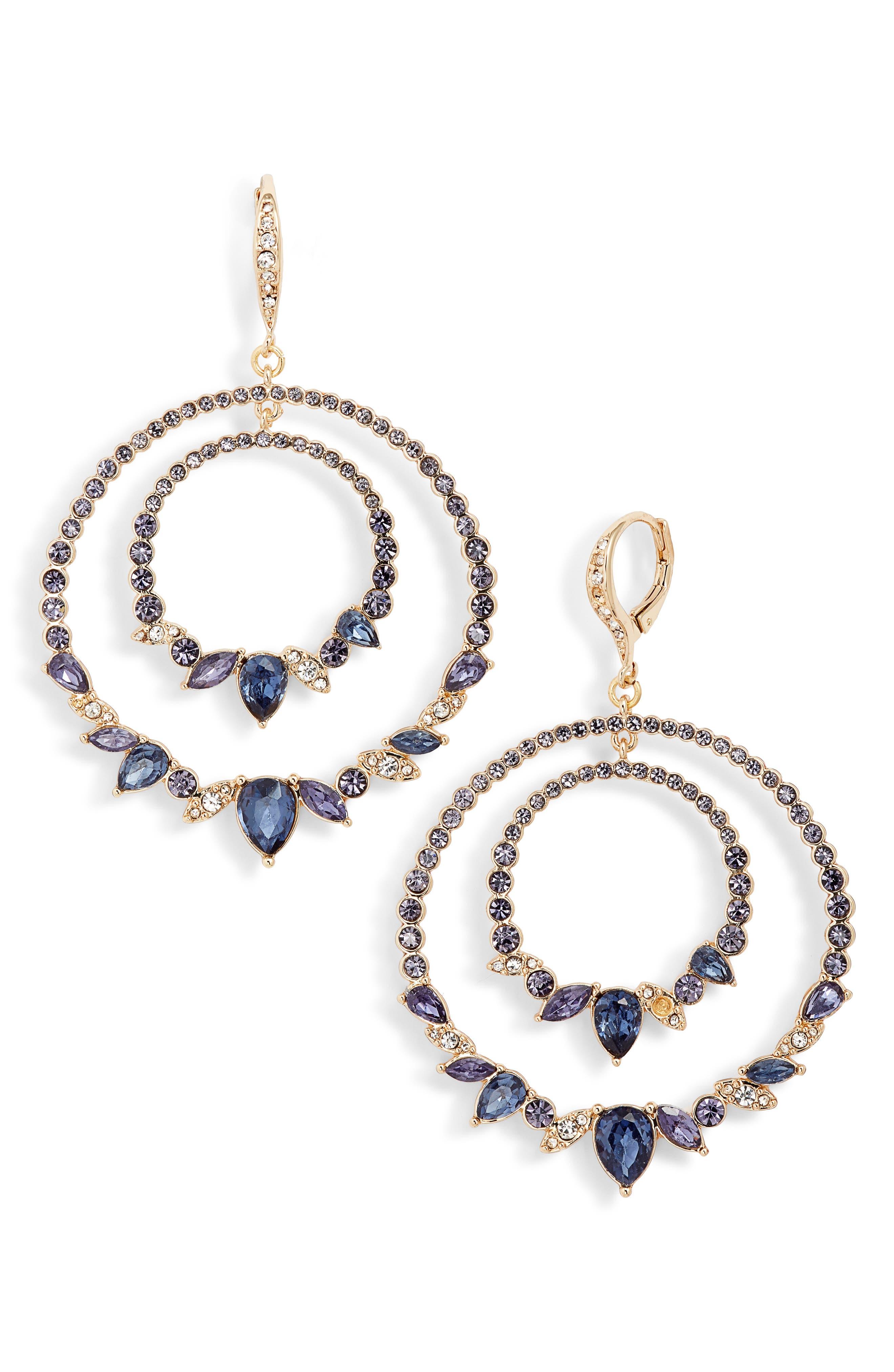 JENNY PACKHAM, Orbital Crystal Drop Earrings, Main thumbnail 1, color, PURPLE/ GOLD