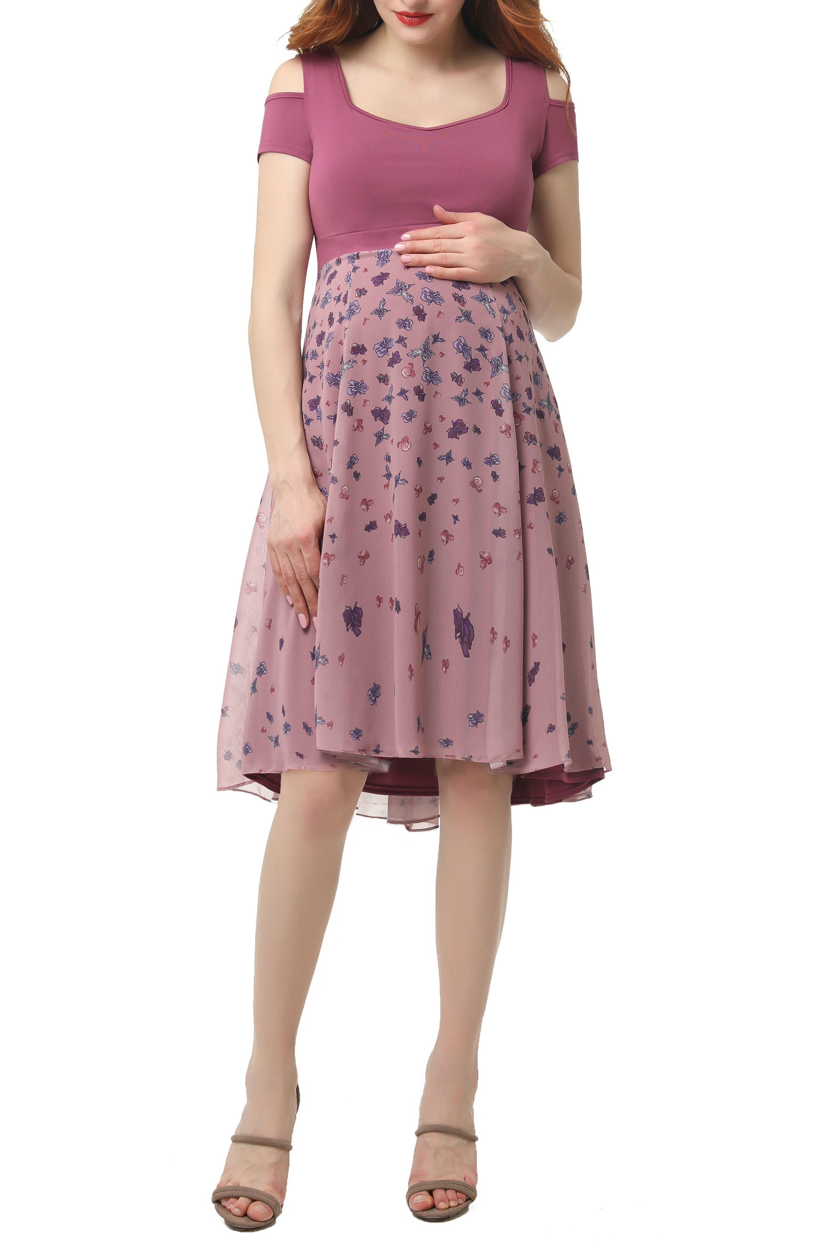 KIMI AND KAI, Erica Cold Shoulder Maternity Dress, Main thumbnail 1, color, ROSE PINK