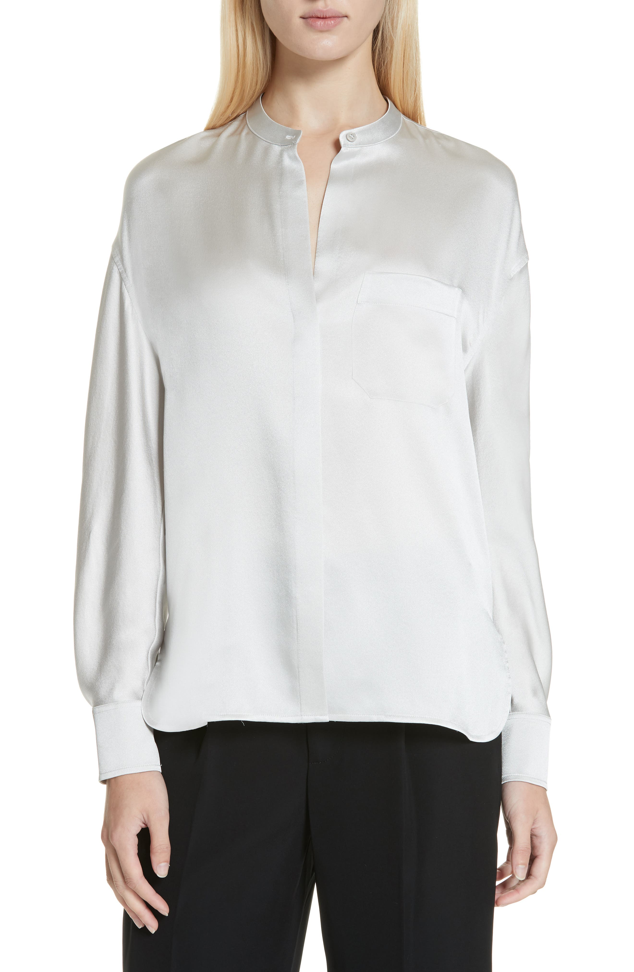 VINCE Band Collar Silk Blouse, Main, color, CELESTE