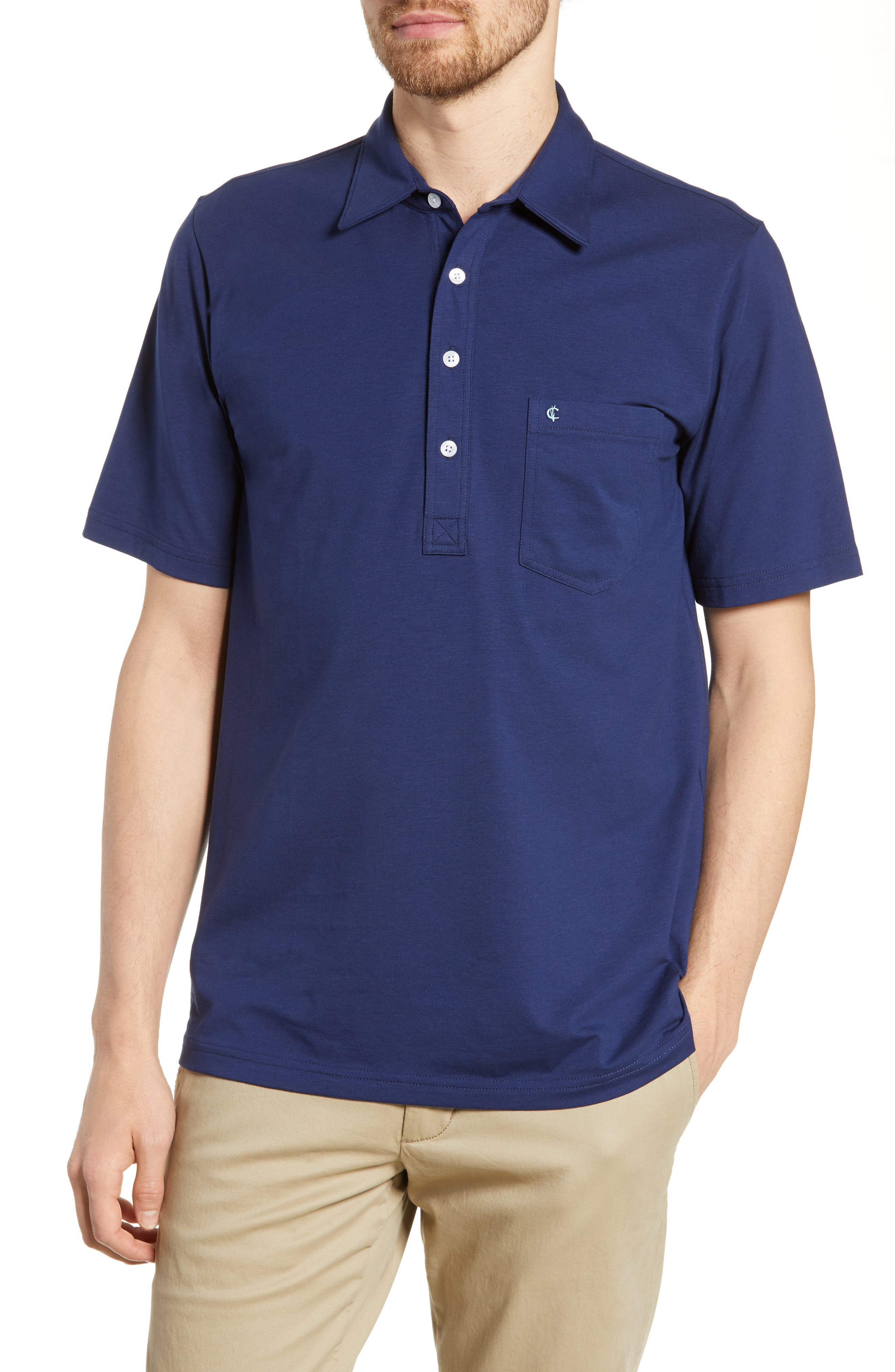 CRIQUET Players Stretch Jersey Polo, Main, color, NAVY