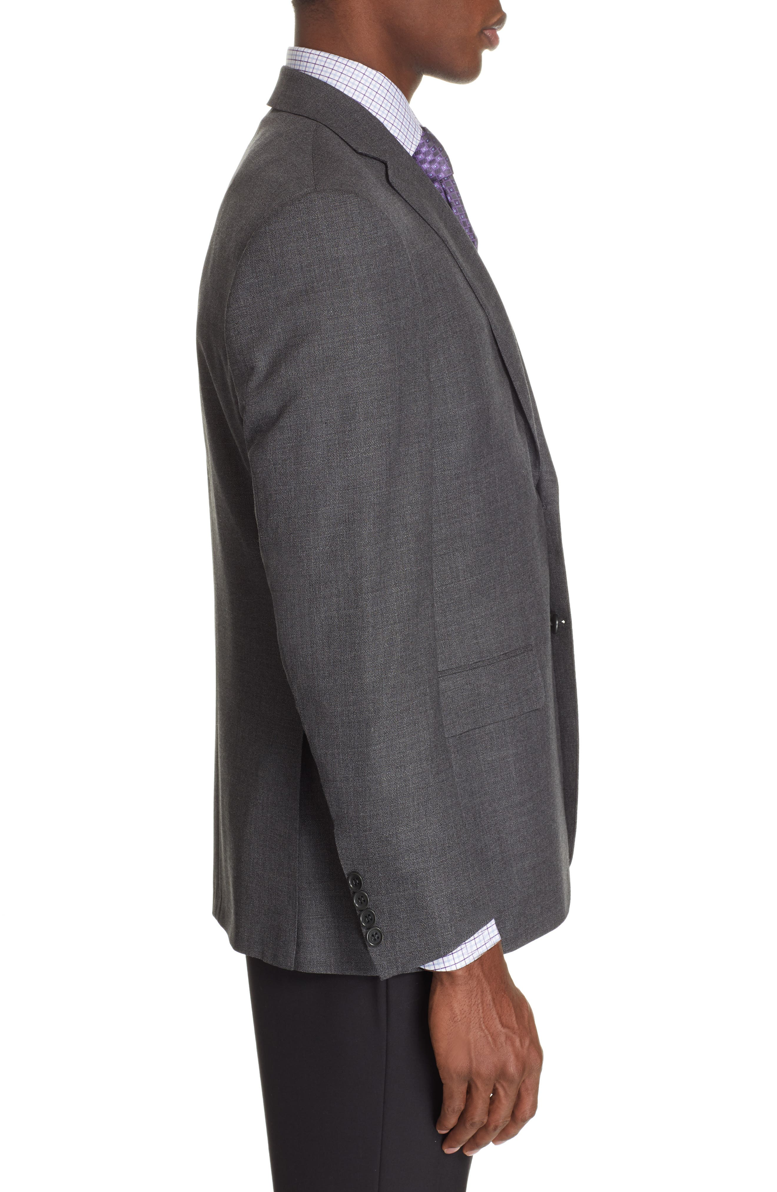 CANALI, Sienna Classic Fit Solid Wool Sport Coat, Alternate thumbnail 3, color, CHARCOAL
