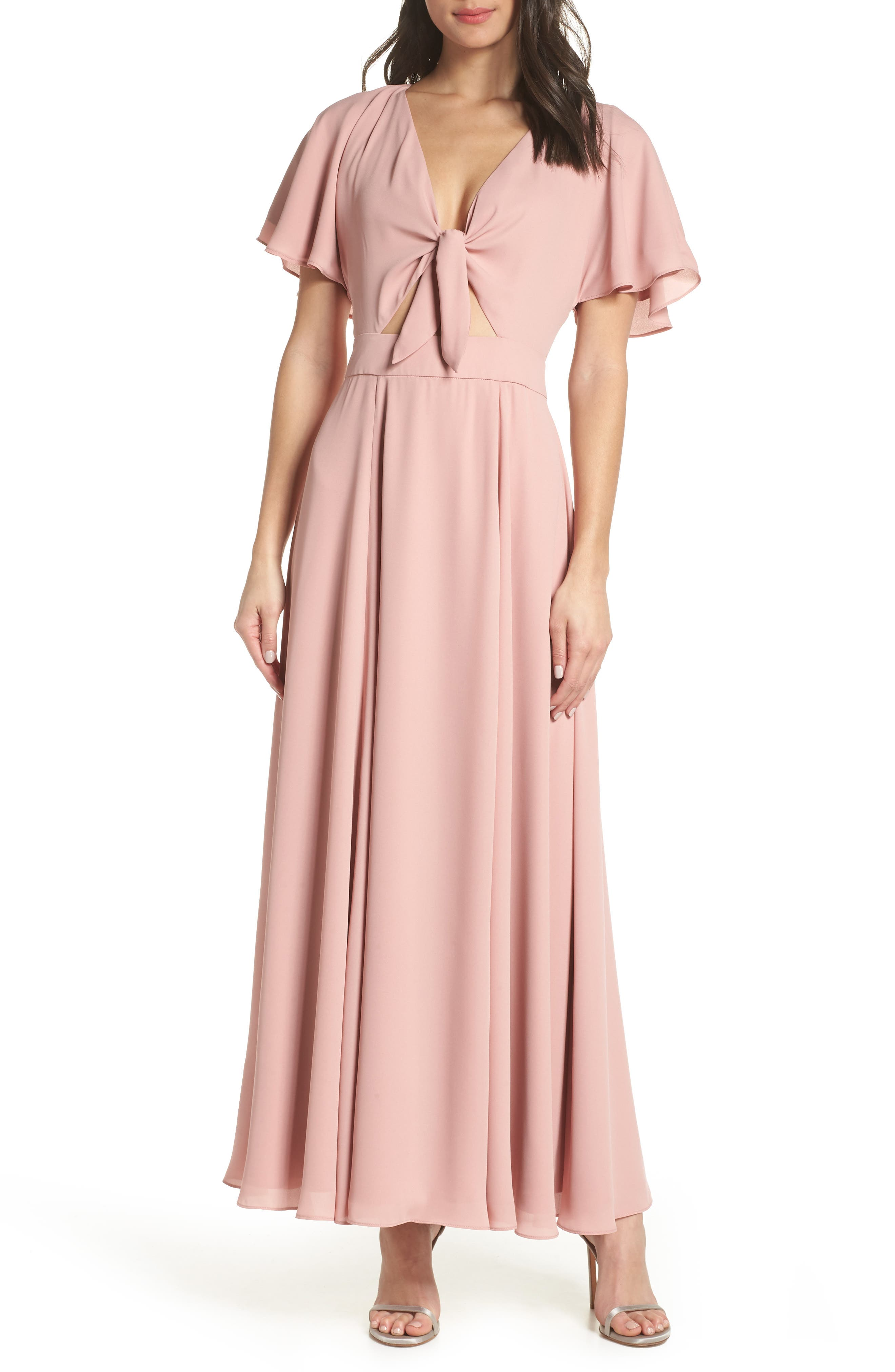 Fame And Partners Tie Front Georgette Dress, Pink