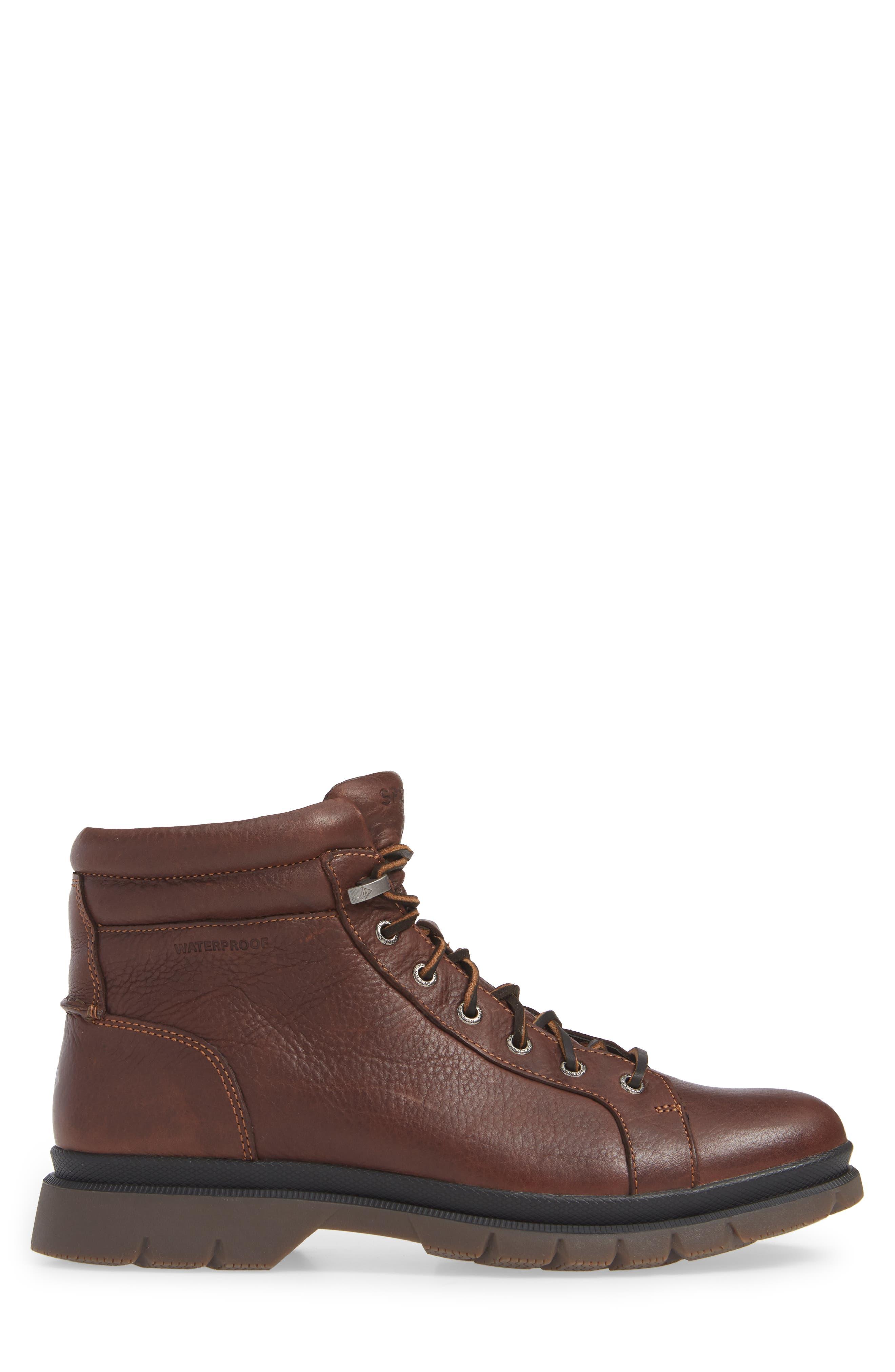 SPERRY, Watertown Waterproof Plain Toe Boot, Alternate thumbnail 3, color, DARK BROWN