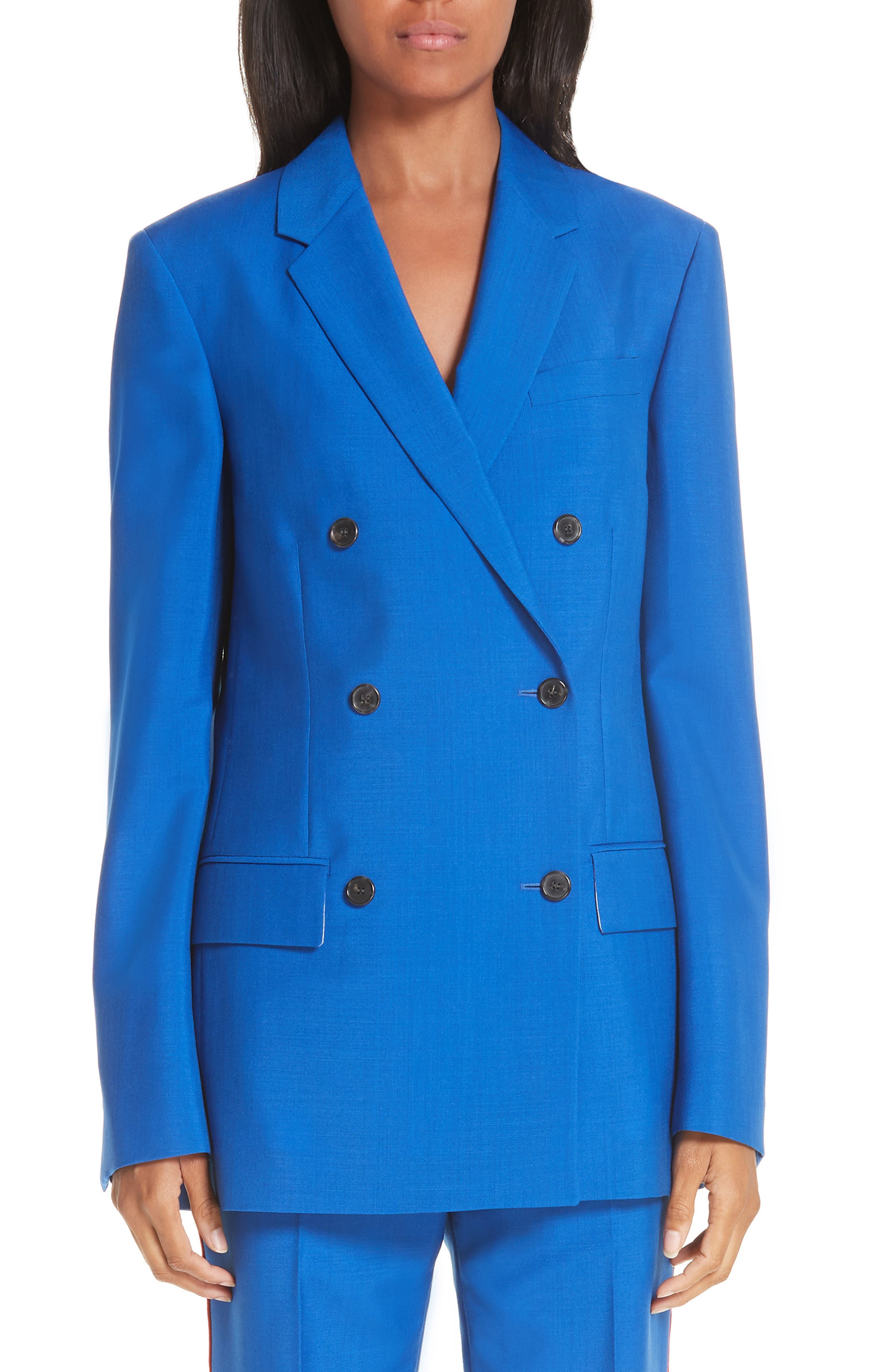 CALVIN KLEIN 205W39NYC, Mohair & Wool Double Breasted Blazer, Main thumbnail 1, color, BRIGHT BLUE