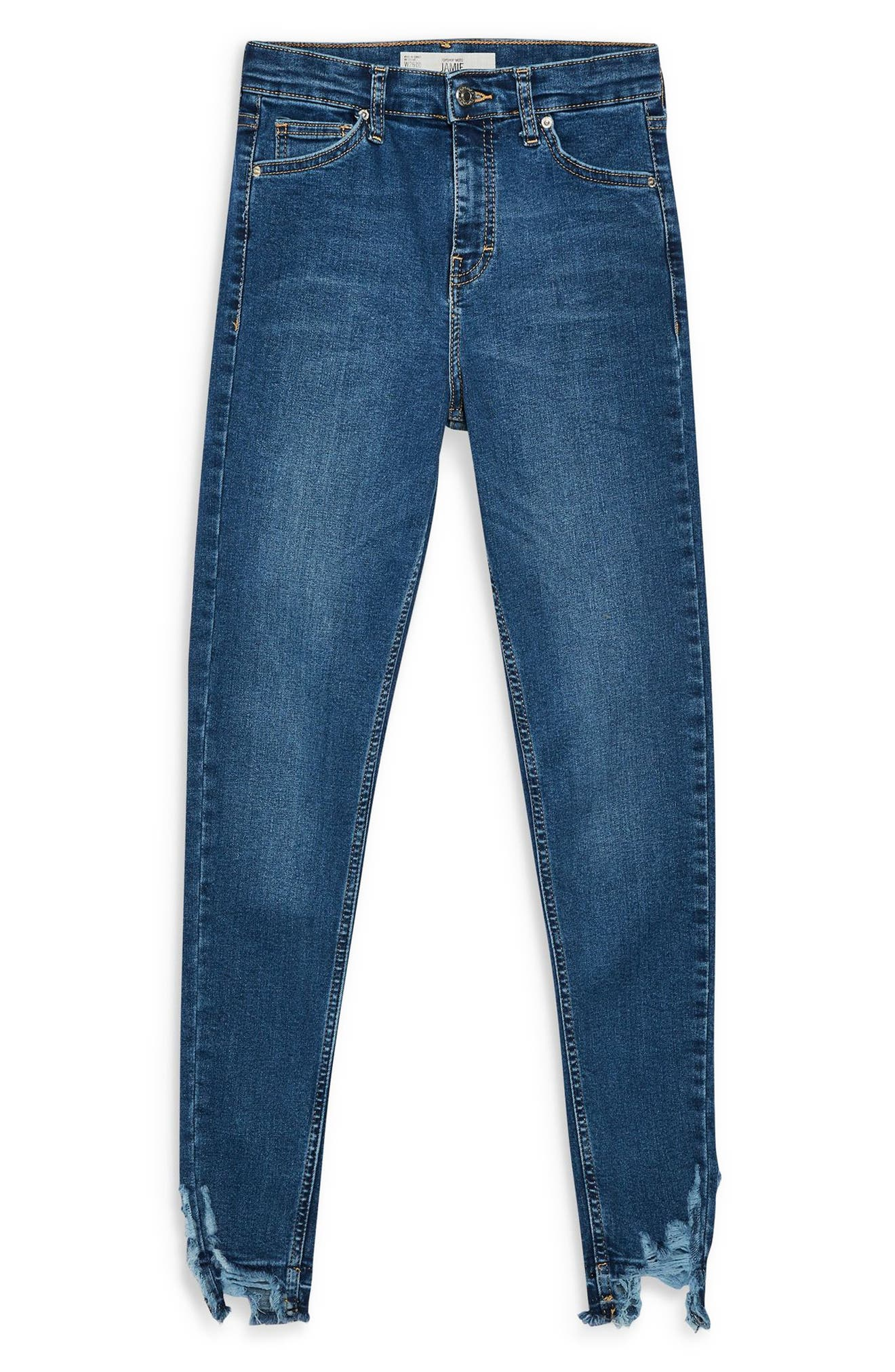 TOPSHOP, Jamie Rip Hem Jeans, Alternate thumbnail 3, color, MID DENIM