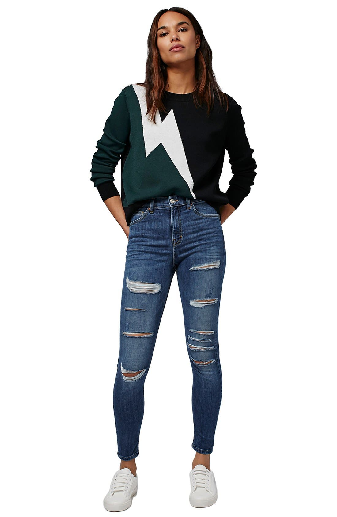 TOPSHOP, Jamie Ripped High Rise Skinny Jeans, Alternate thumbnail 3, color, 400