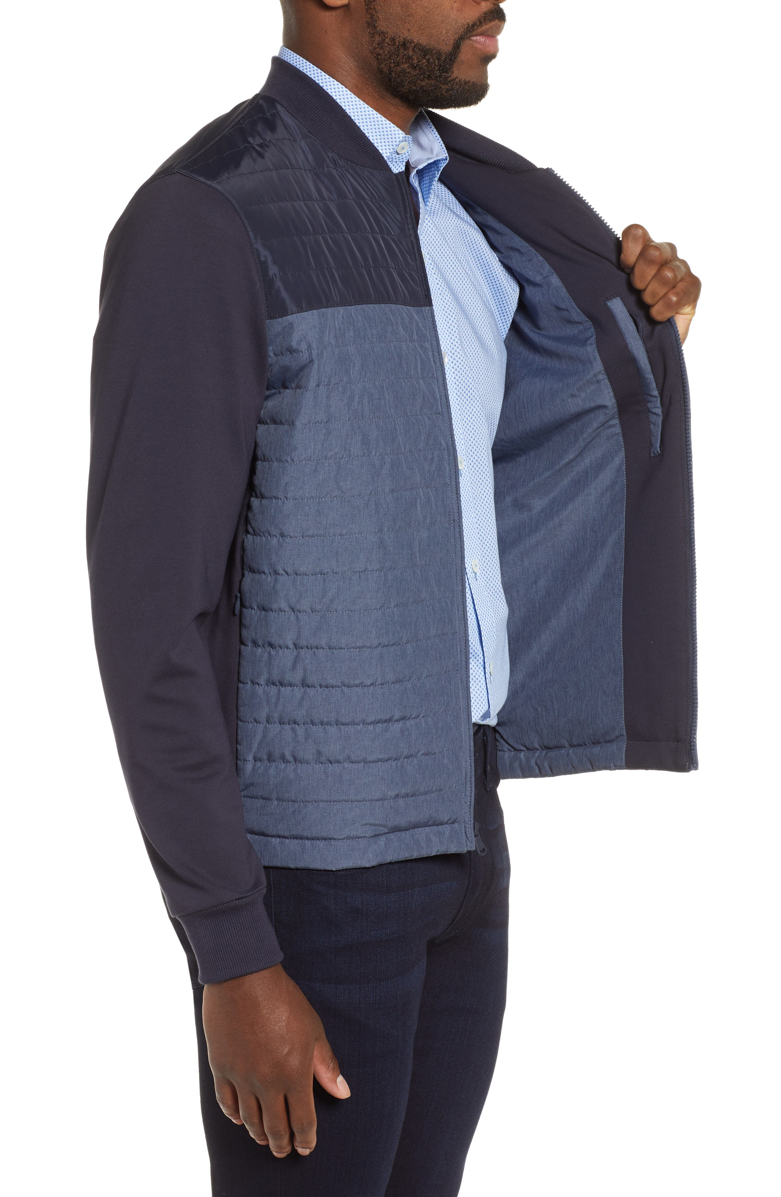 ZACHARY PRELL, Montauk Quilted Bomber Jacket, Alternate thumbnail 4, color, NAVY