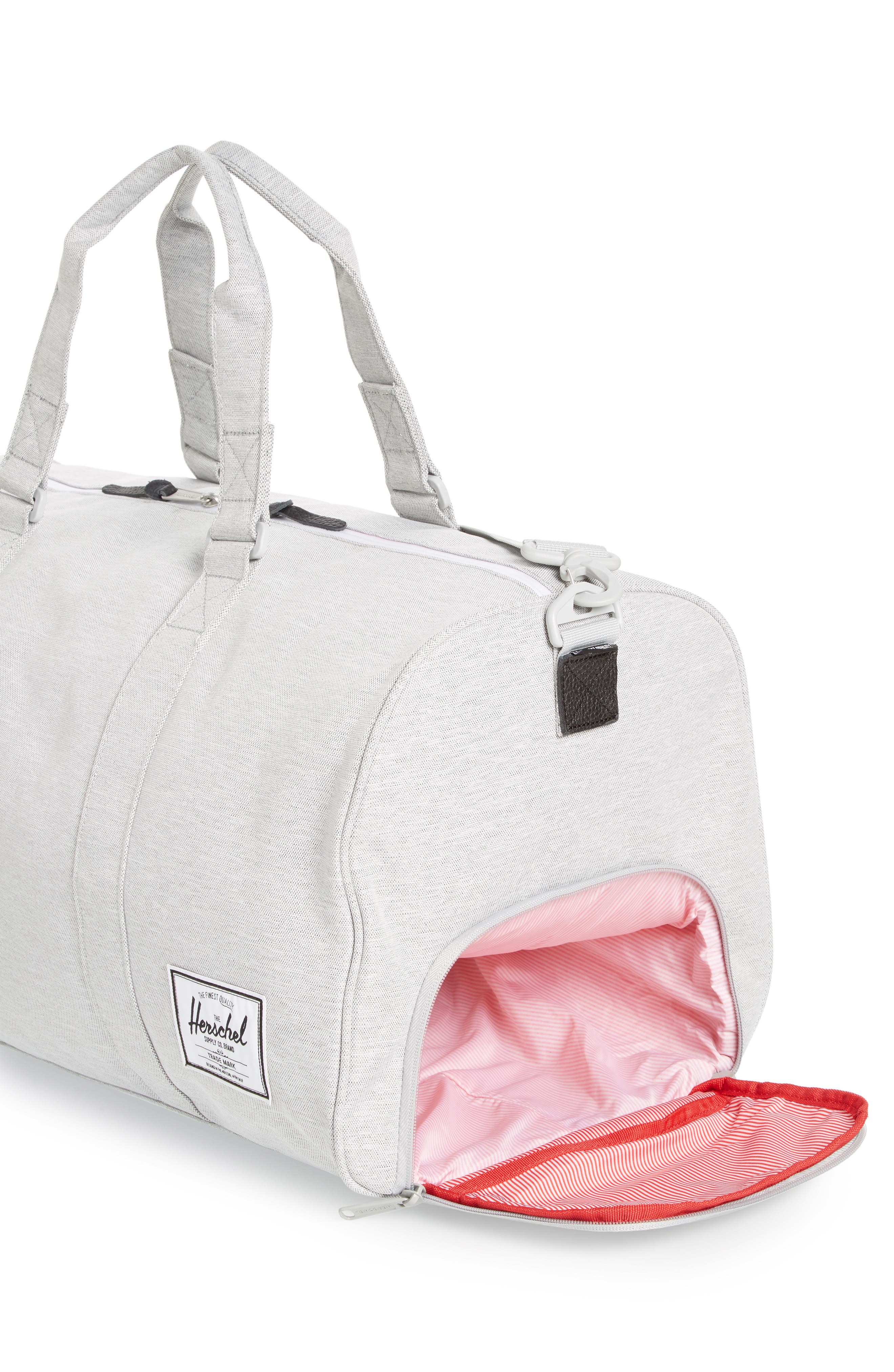 HERSCHEL SUPPLY CO., Novel Duffle Bag, Alternate thumbnail 4, color, LIGHT GREY CROSSHATCH
