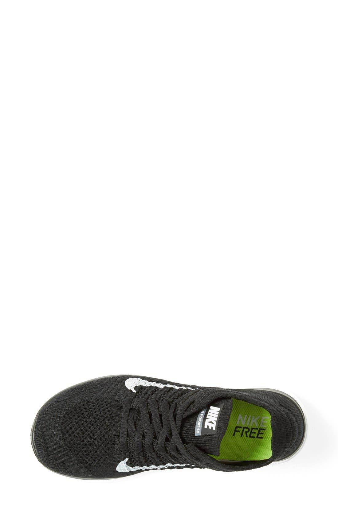 NIKE, 'Free 4.0 Flyknit' Running Shoe, Alternate thumbnail 4, color, 001
