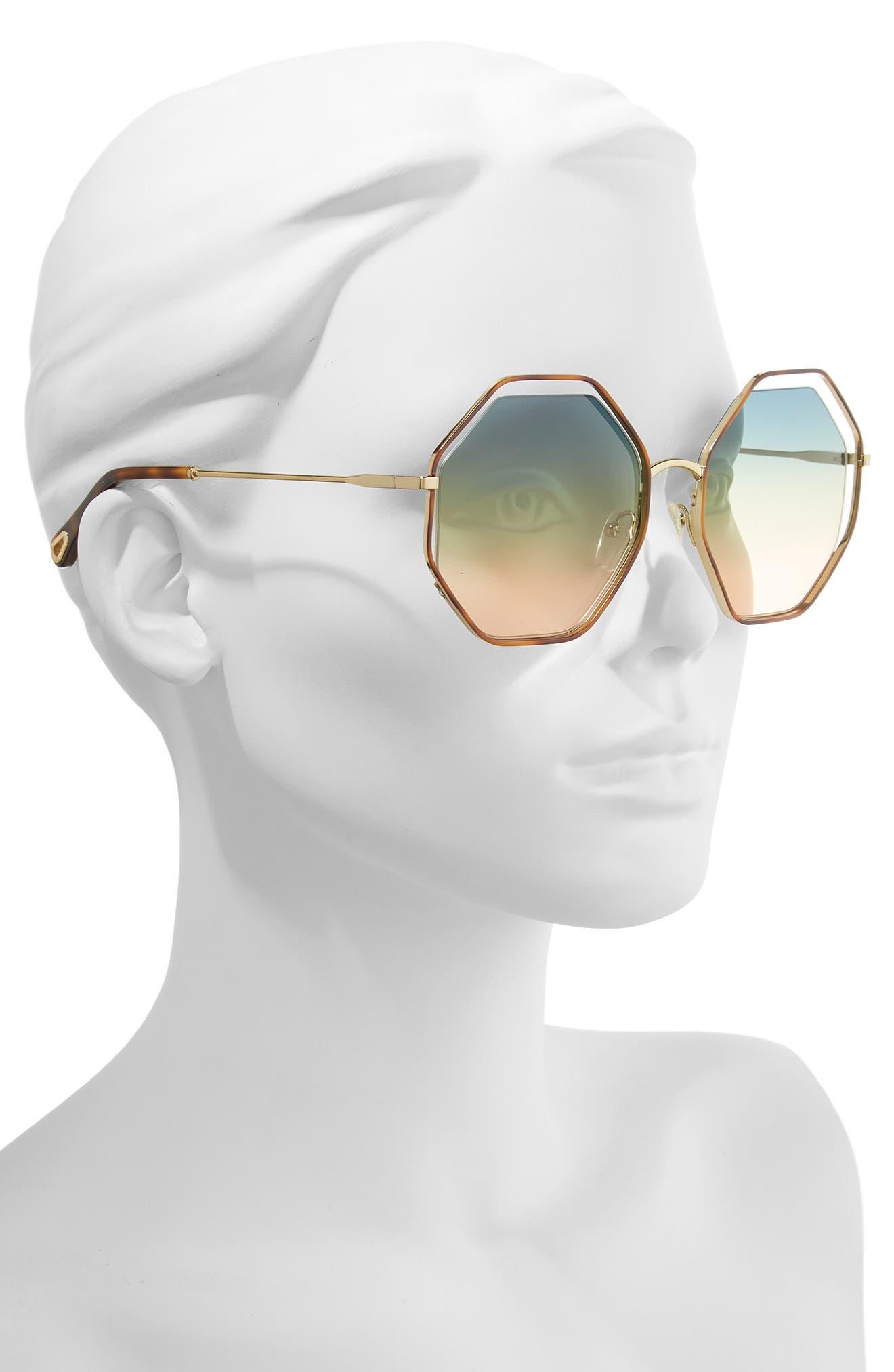 CHLOÉ, 58mm Octagonal Halo Lens Sunglasses, Alternate thumbnail 2, color, HAVANA/ GRADIENT BLUE