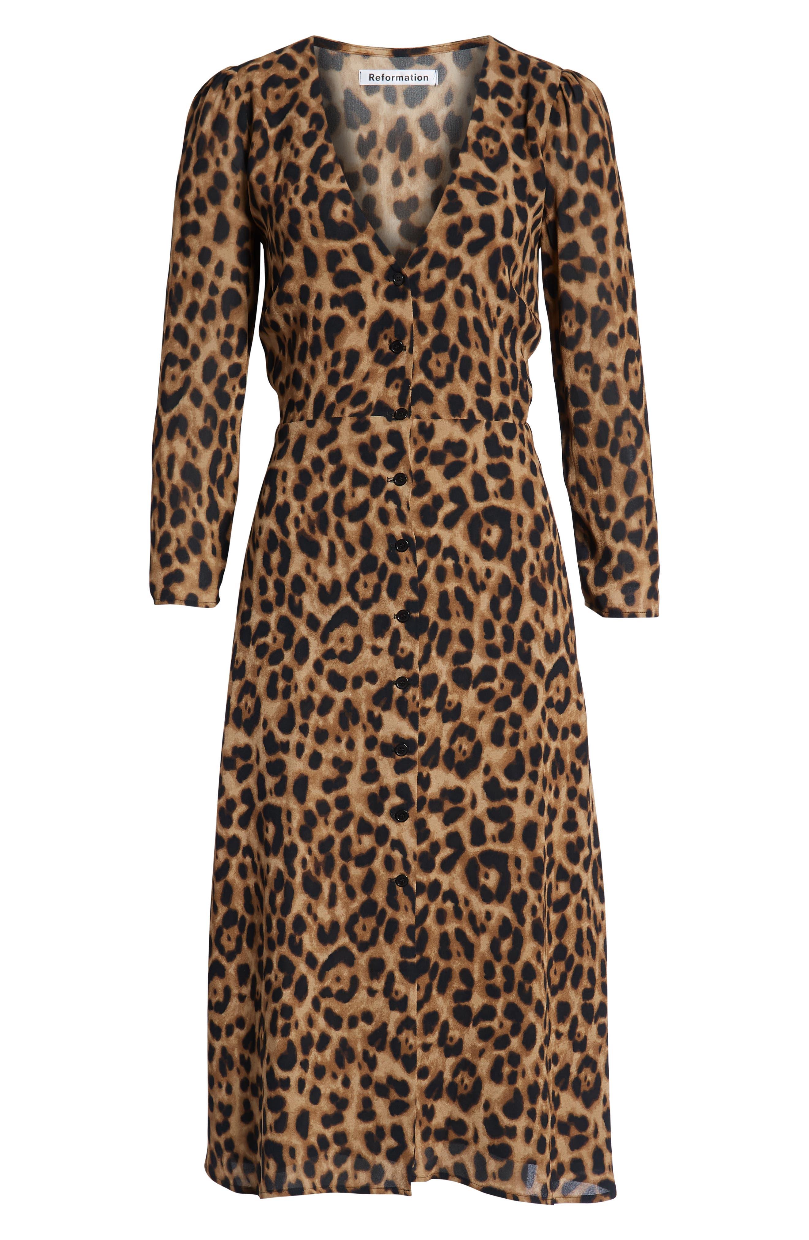 REFORMATION, Alma Midi Dress, Alternate thumbnail 5, color, LEOPARD