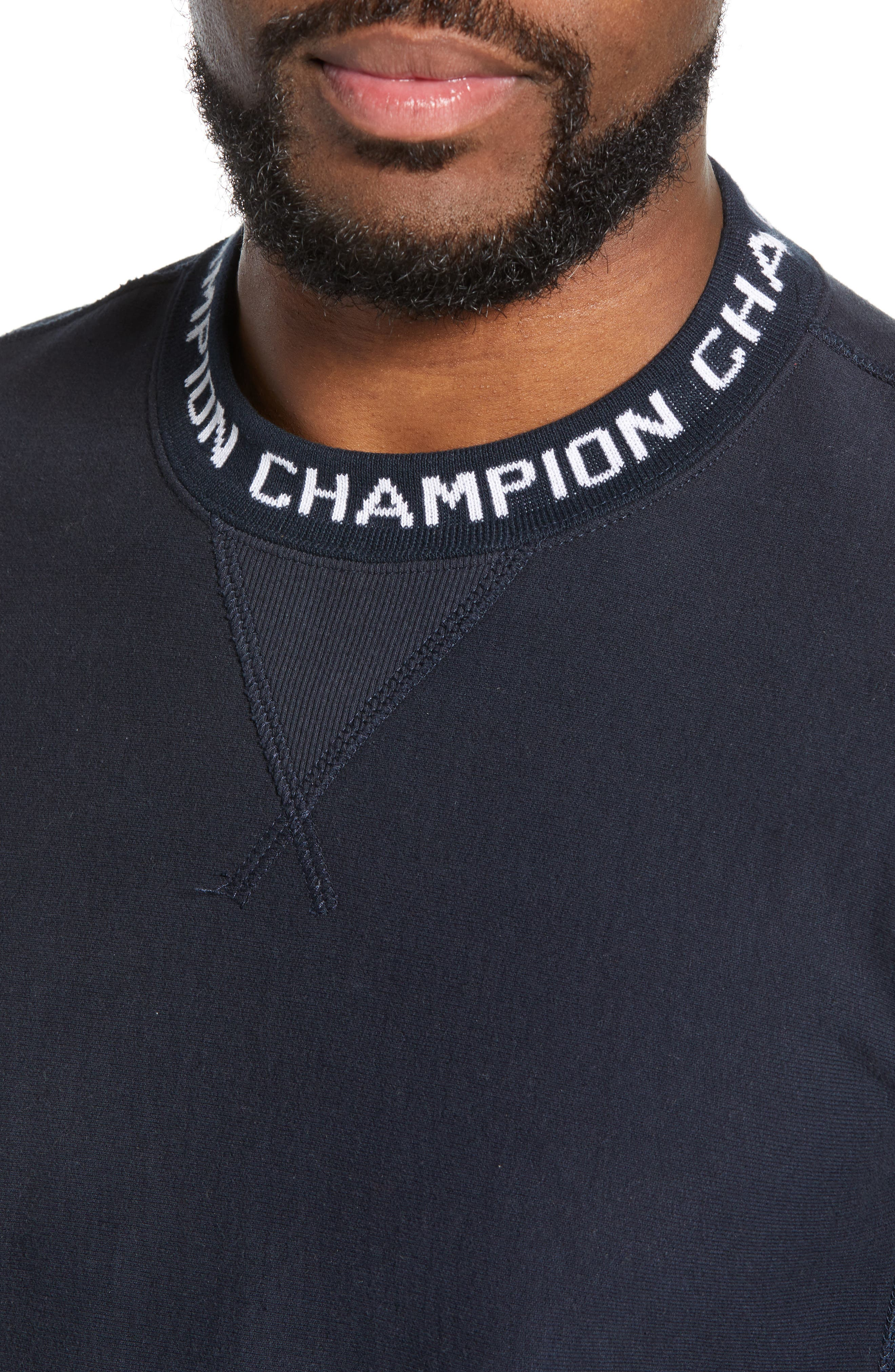 TODD SNYDER + CHAMPION, Todd Snyder x Champion Ribbed Logo Sweatshirt, Alternate thumbnail 4, color, NAVY