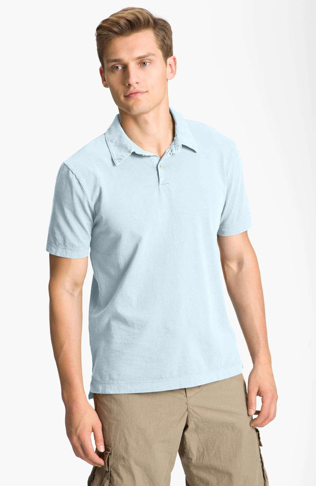 JAMES PERSE, Slim Fit Sueded Jersey Polo, Main thumbnail 1, color, POWDER BLUE
