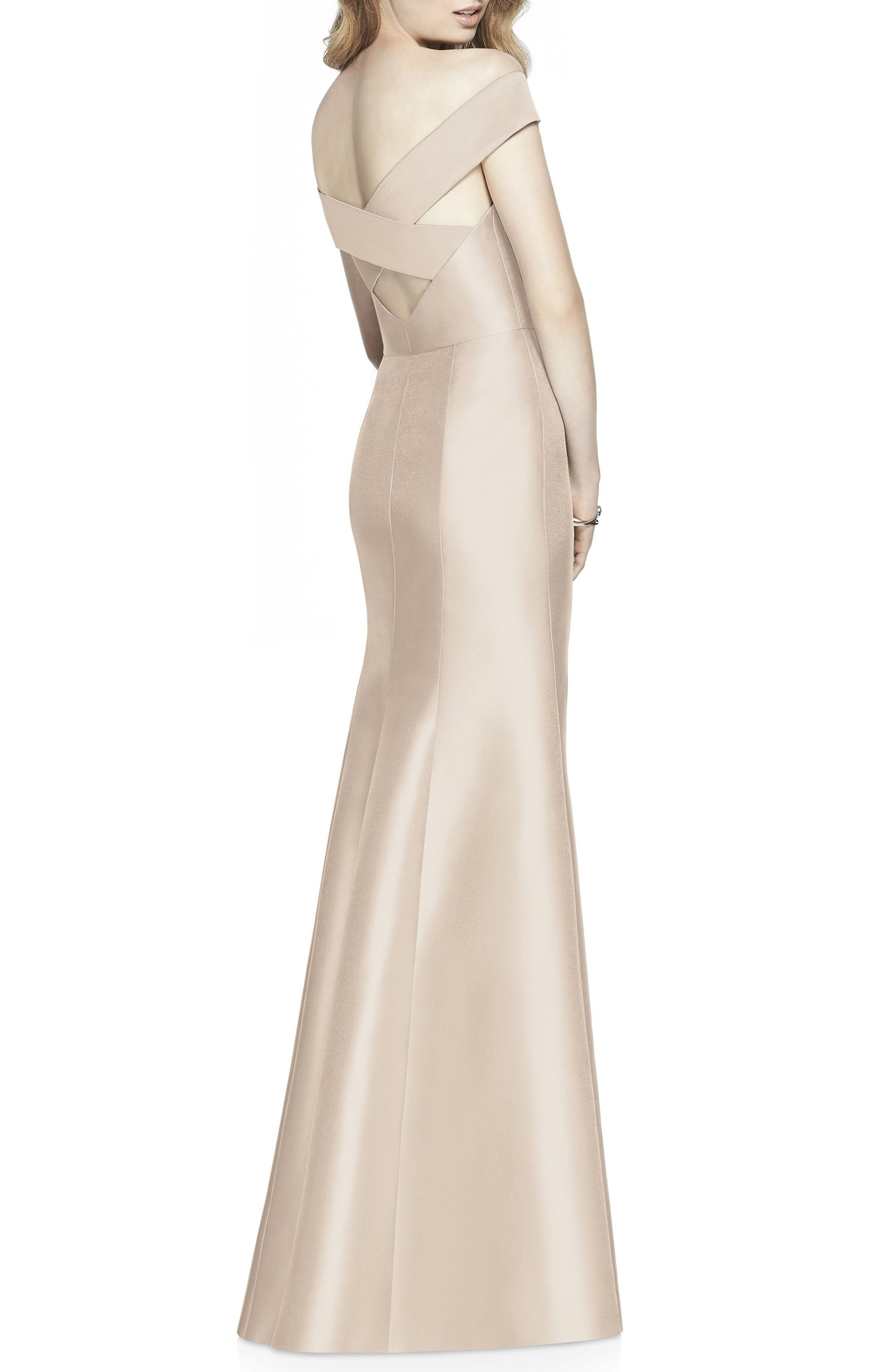 ALFRED SUNG, Off the Shoulder Sateen Gown, Alternate thumbnail 2, color, CAMEO