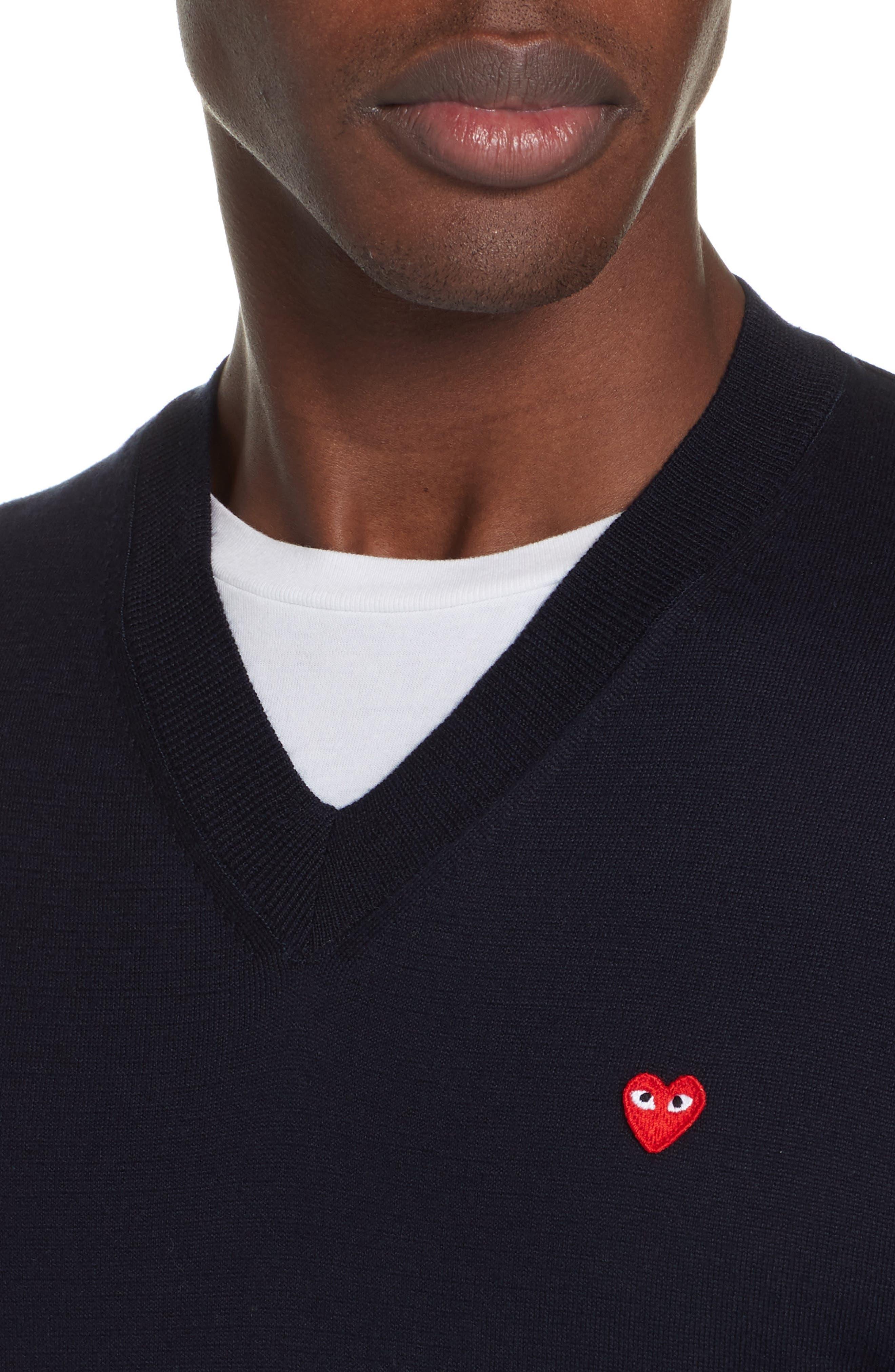 COMME DES GARÇONS PLAY, Cotton Logo Sweater, Alternate thumbnail 4, color, NAVY