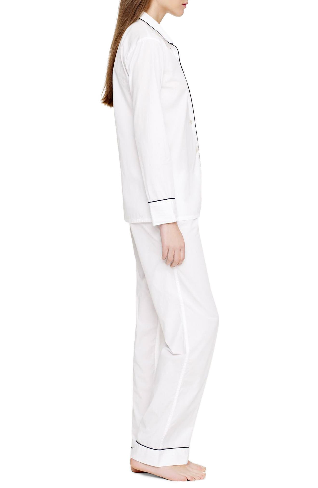 J.CREW, Vintage Cotton Pajamas, Alternate thumbnail 3, color, WHITE