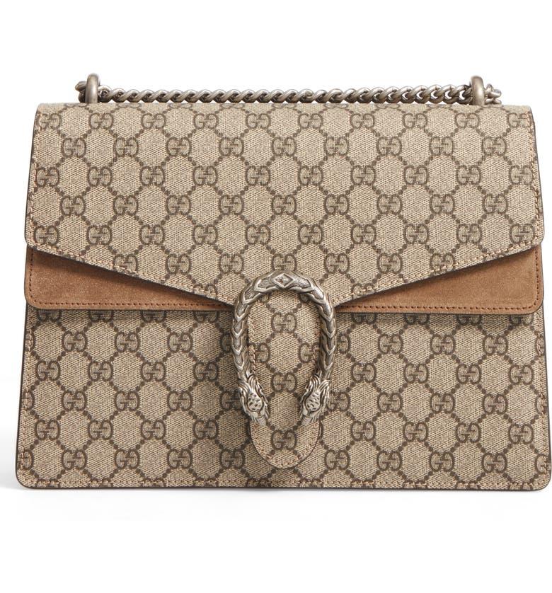 1b733b67c4b Gucci Large Dionysus GG Supreme Canvas   Suede Shoulder Bag