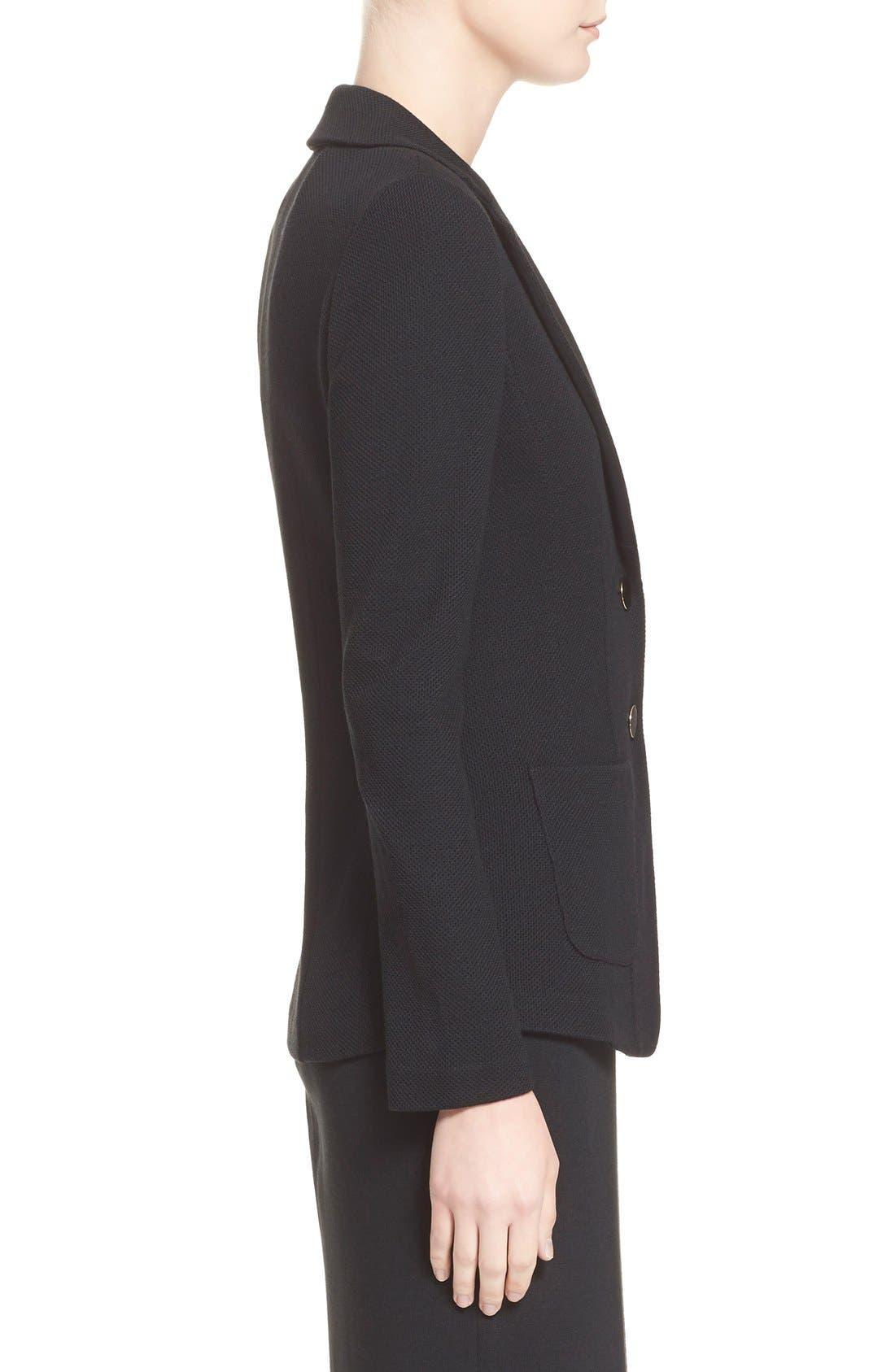ST. JOHN COLLECTION, Milano Piqué Knit Jacket, Alternate thumbnail 5, color, CAVIAR