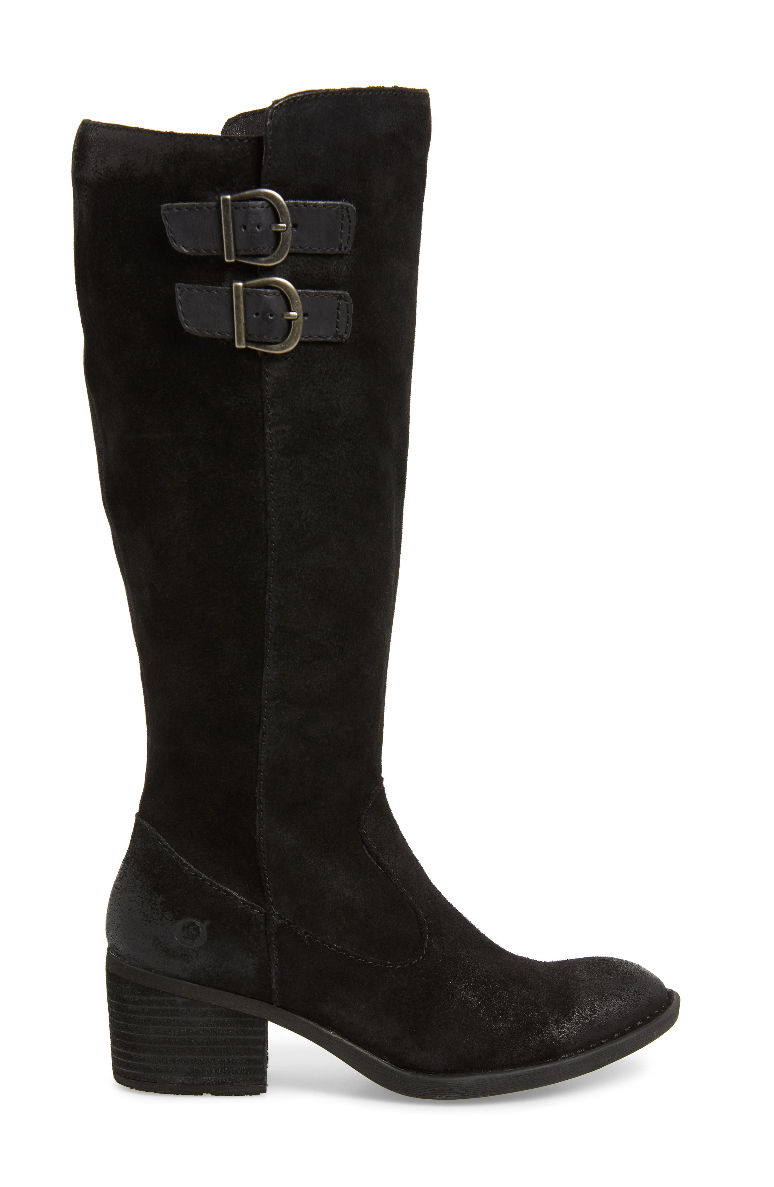 BØRN, Basil Knee High Boot, Alternate thumbnail 3, color, BLACK DISTRESSED LEATHER