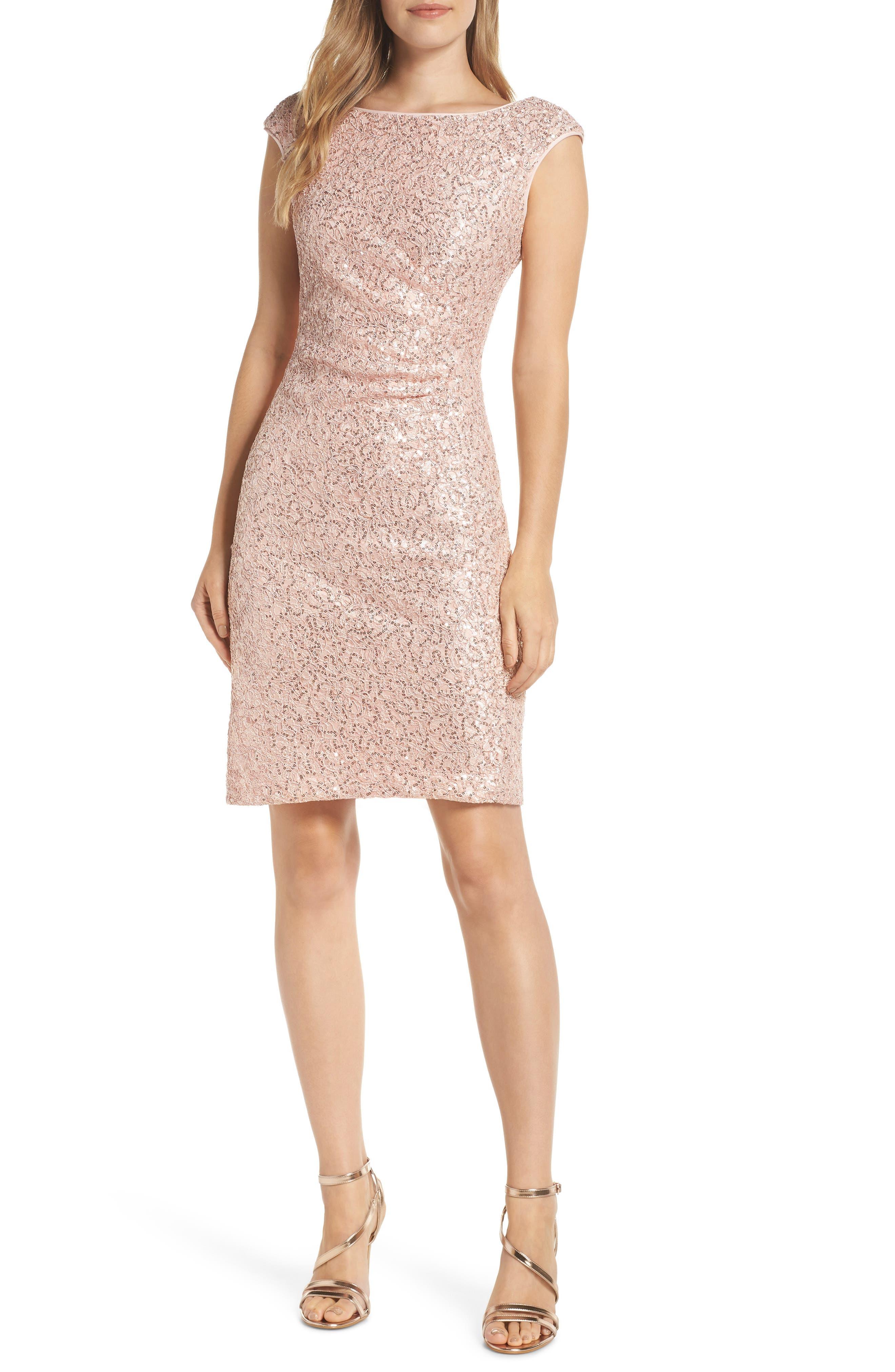 VINCE CAMUTO, Sequin Lace Sheath Dress, Main thumbnail 1, color, 684