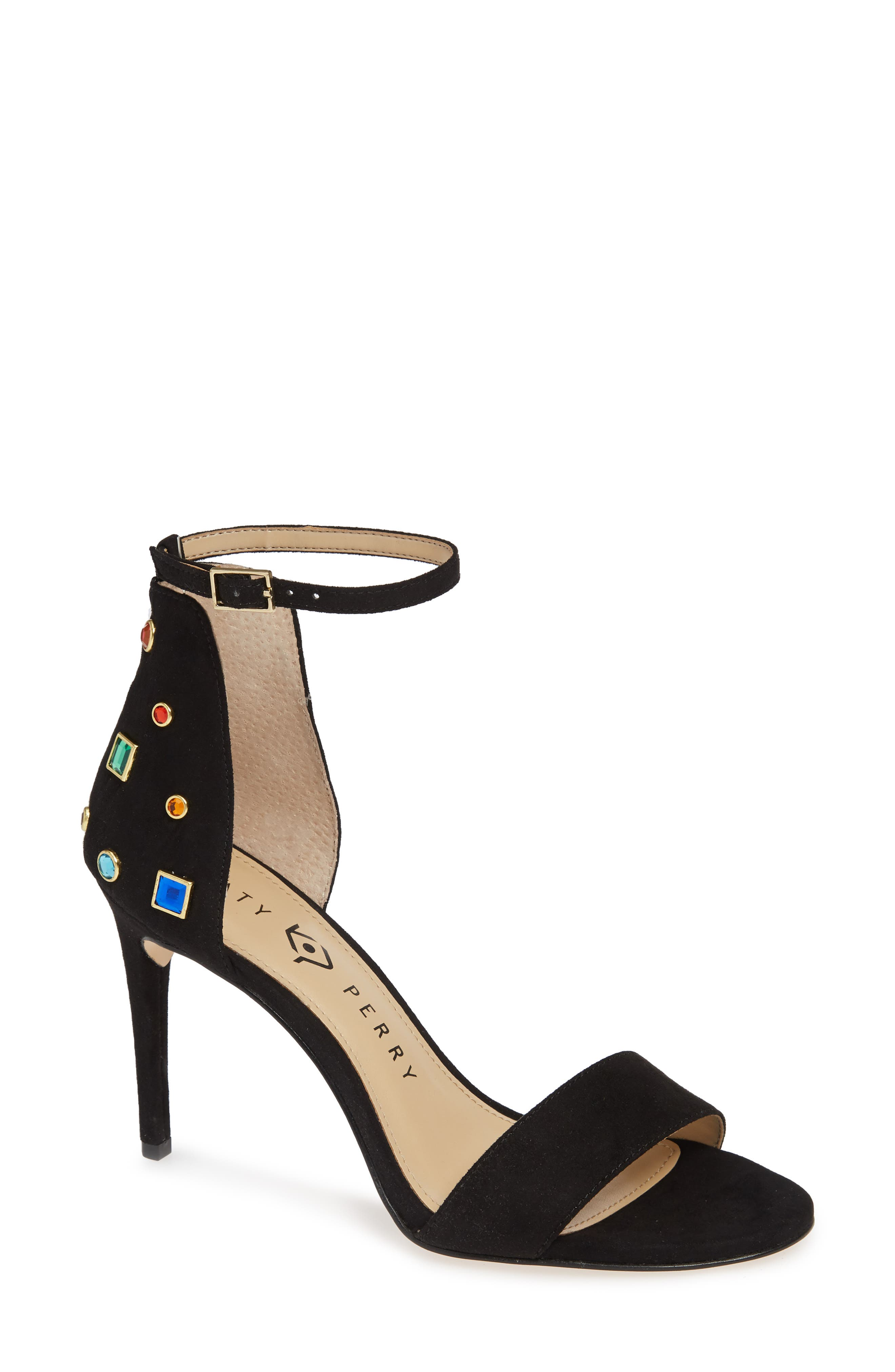 KATY PERRY, Jewel Ankle Strap Sandal, Main thumbnail 1, color, 001