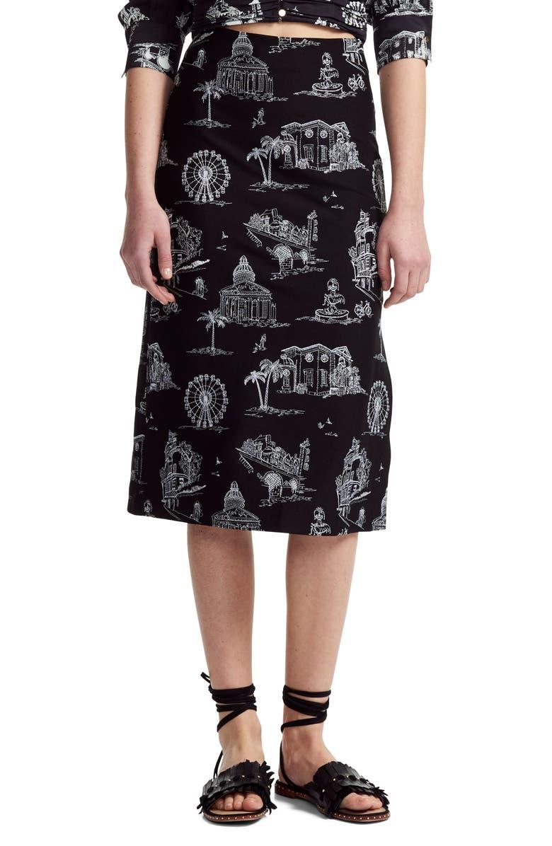 Maje Skirts EMBROIDERED GRAPHIC MIDI SKIRT