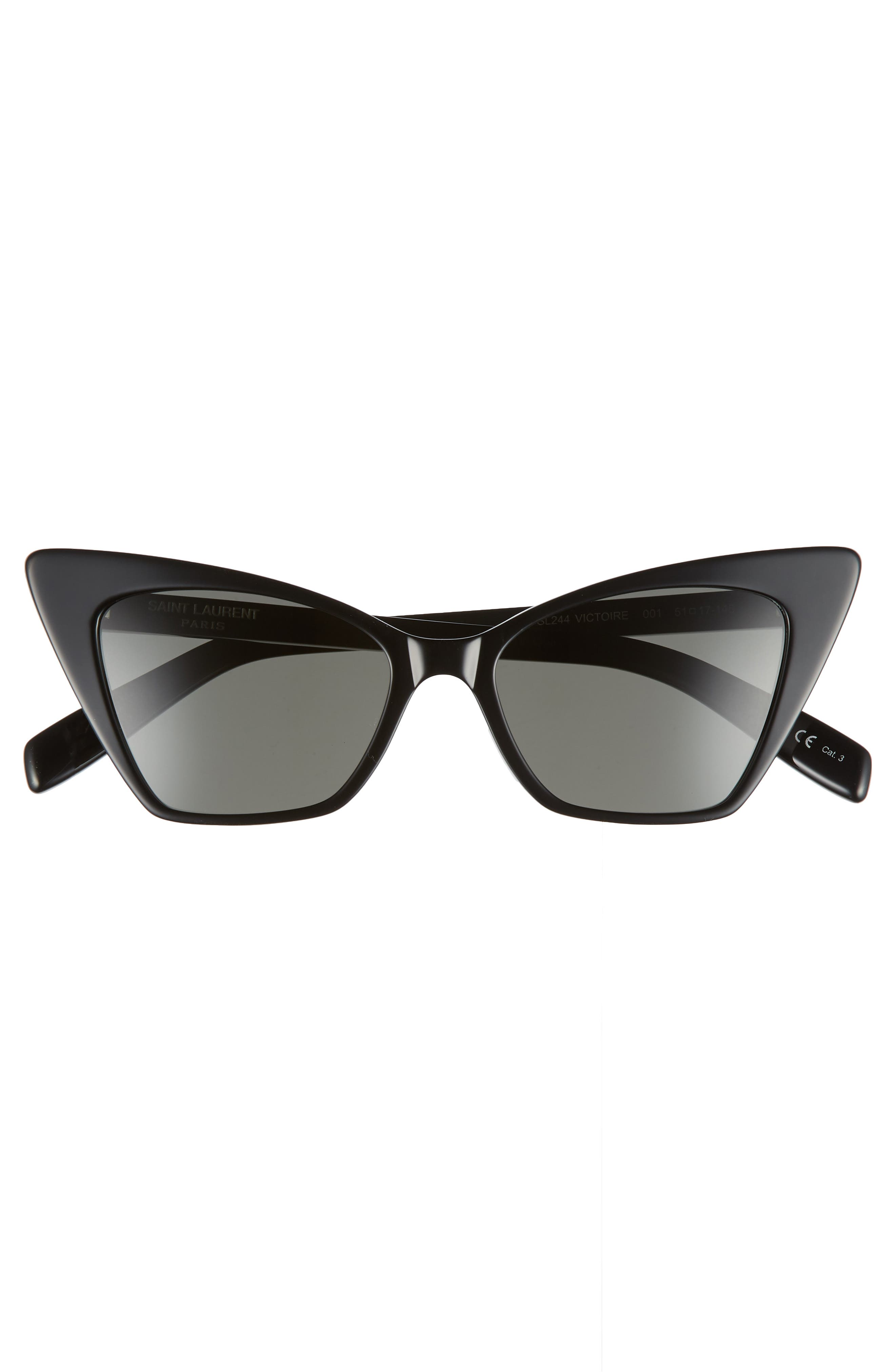 SAINT LAURENT, 51mm Cat Eye Sunglasses, Alternate thumbnail 3, color, BLACK