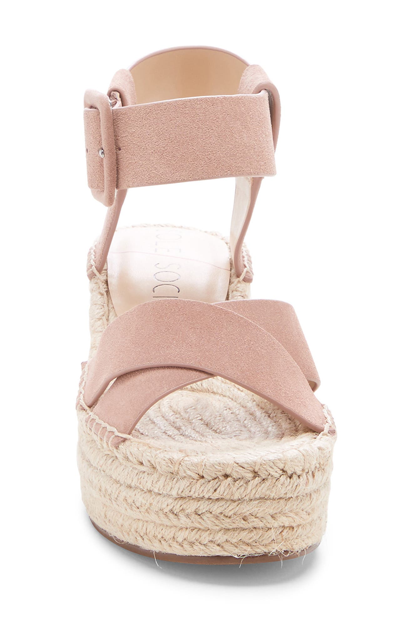 SOLE SOCIETY, Audrina Platform Espadrille Sandal, Alternate thumbnail 4, color, DUSTY ROSE SUEDE