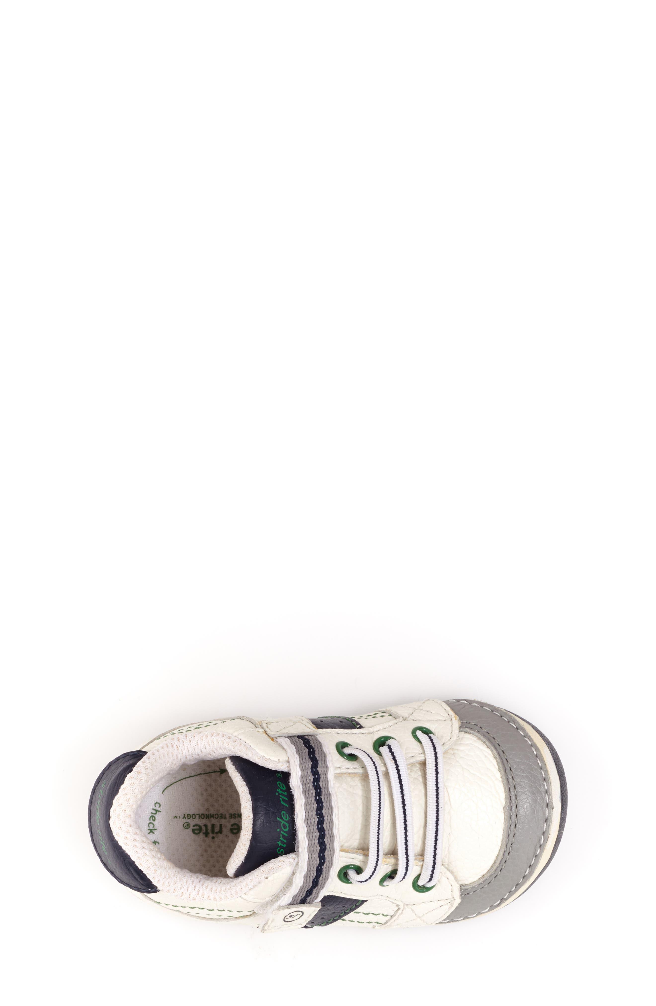 STRIDE RITE, 'Arte' Sneaker, Alternate thumbnail 5, color, WHITE/ NAVY