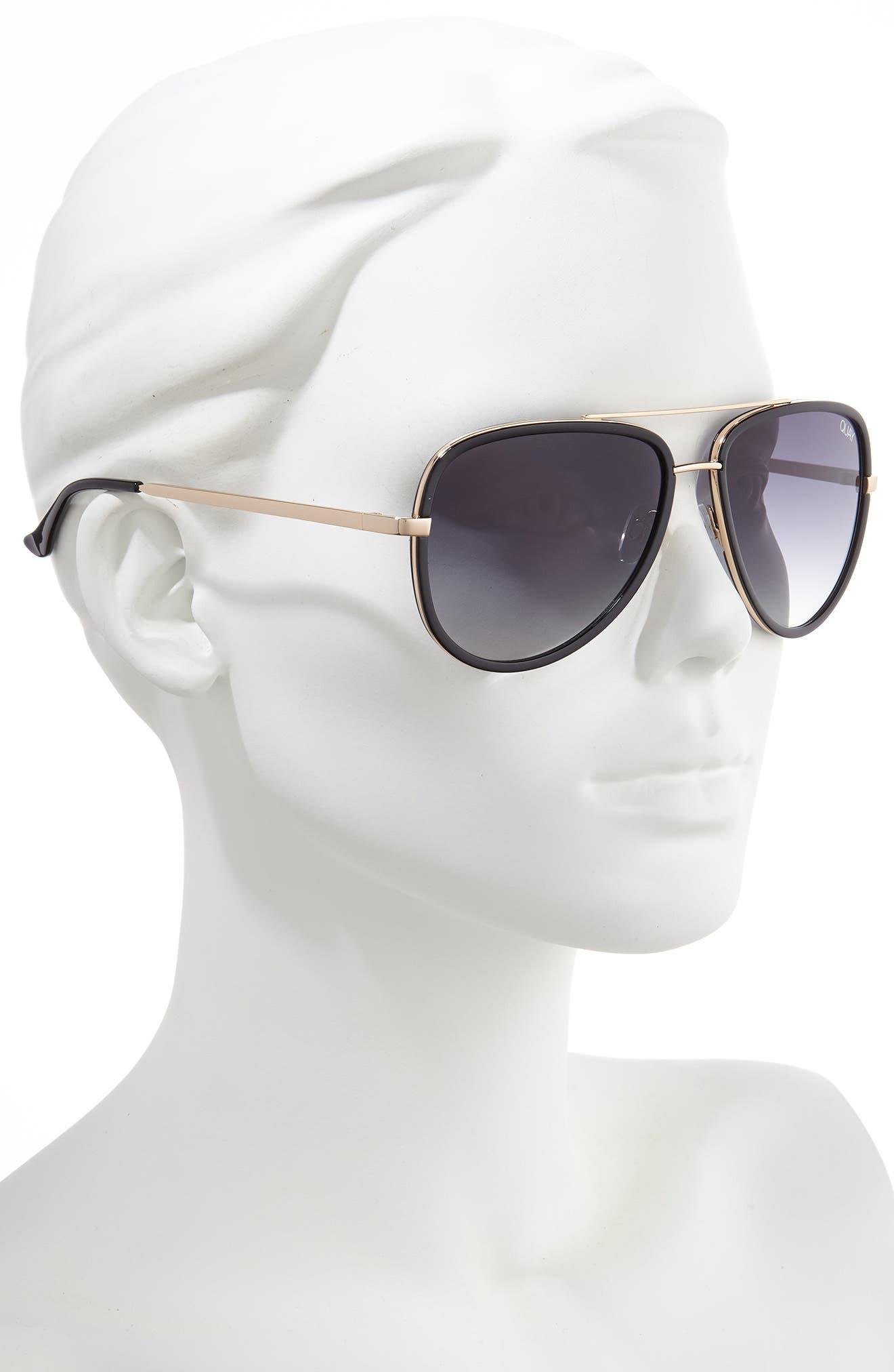 QUAY AUSTRALIA, x JLO All In 56mm Aviator Sunglasses, Alternate thumbnail 2, color, BLACK/ SMOKE FADE