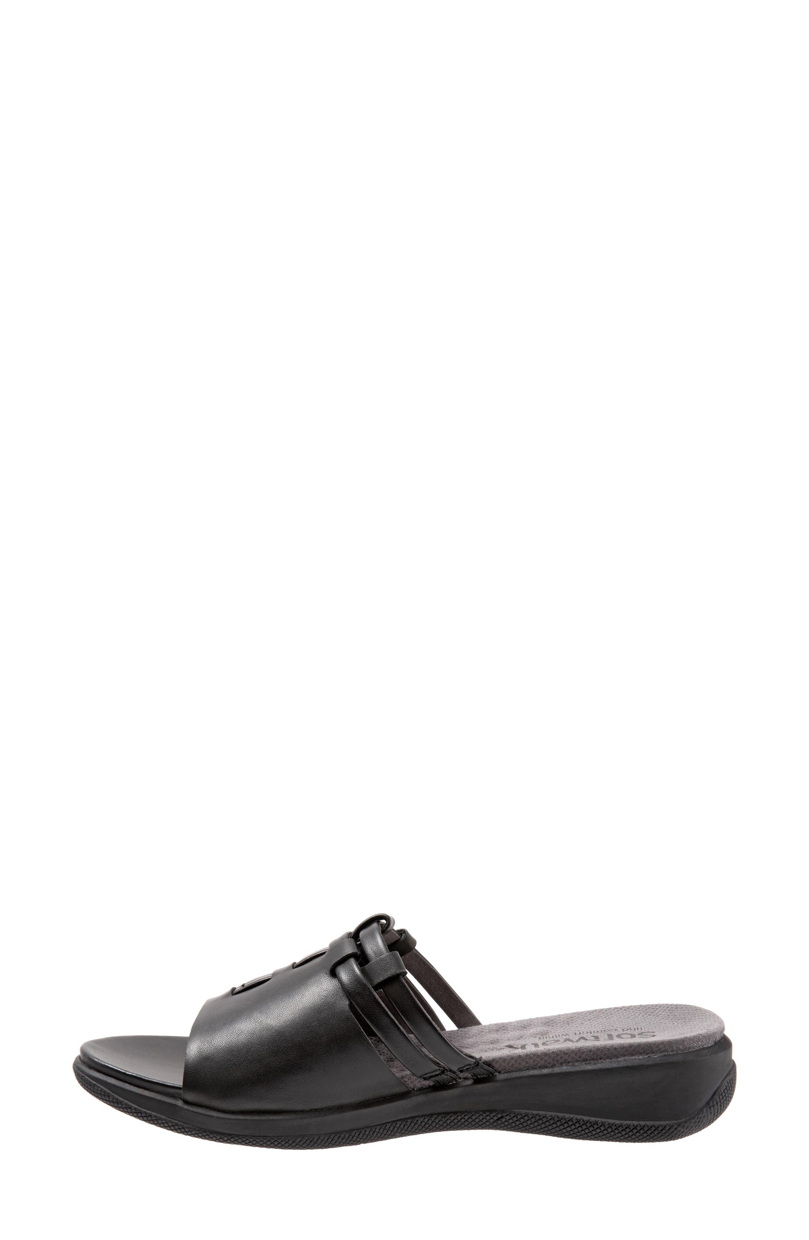 SOFTWALK<SUP>®</SUP>, Tahoma Woven Slide Sandal, Alternate thumbnail 8, color, BLACK LEATHER