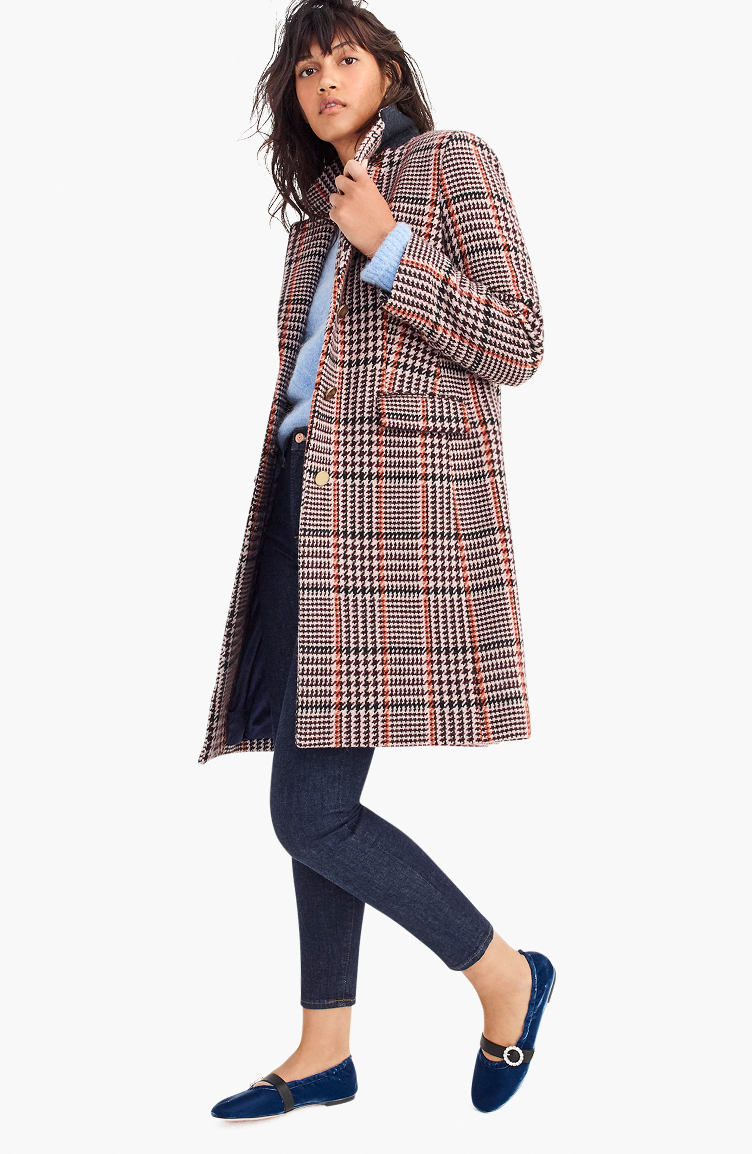 J.CREW, Plaid Single Breasted Topcoat, Alternate thumbnail 7, color, 600