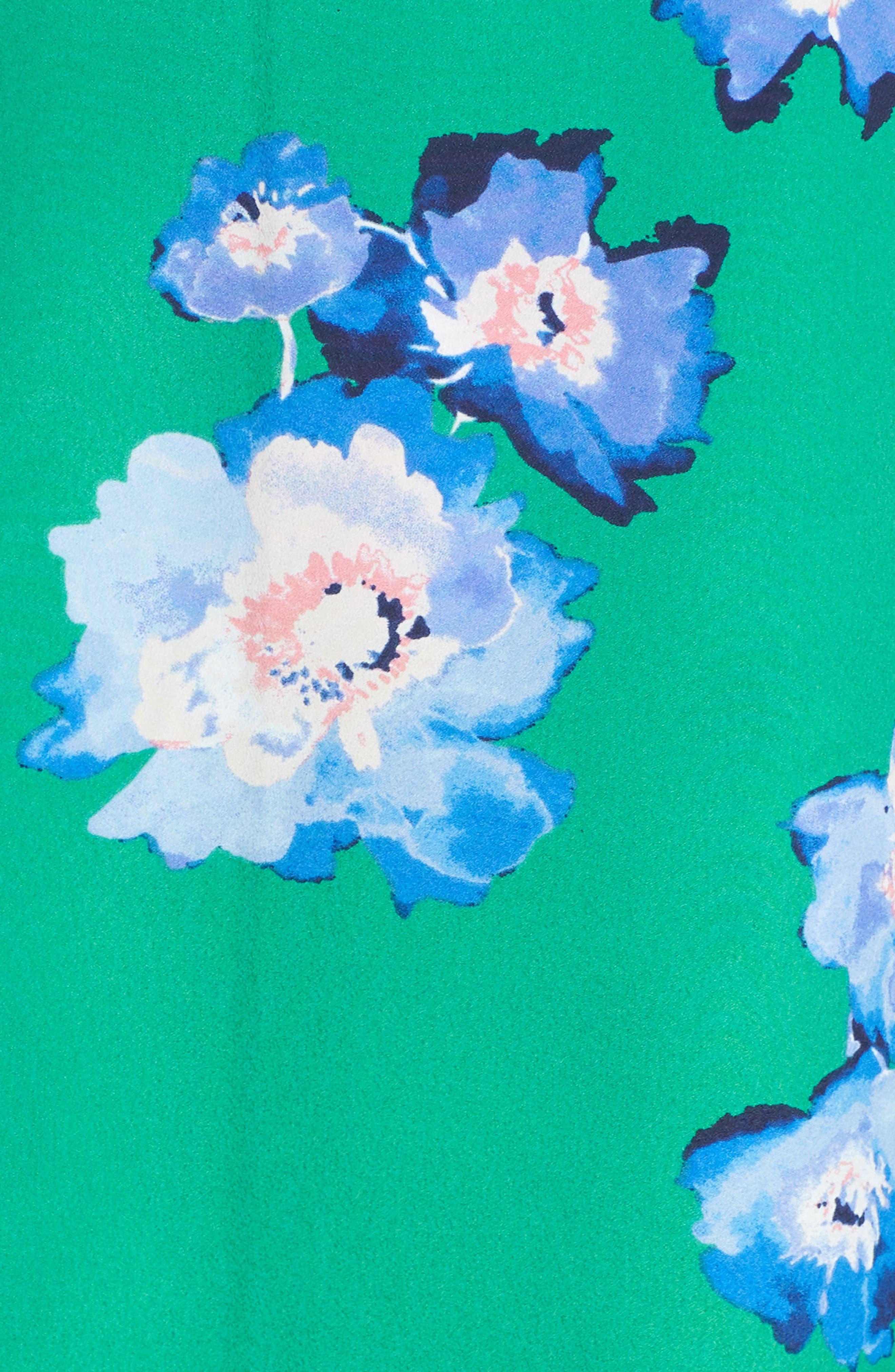 ELIZA J, Blouson Sleeve Wrap Midi Dress, Alternate thumbnail 6, color, GREEN