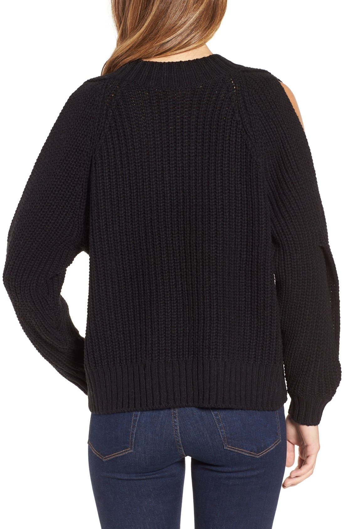 LEITH, Ribbed Cold Shoulder Sweater, Alternate thumbnail 5, color, 001