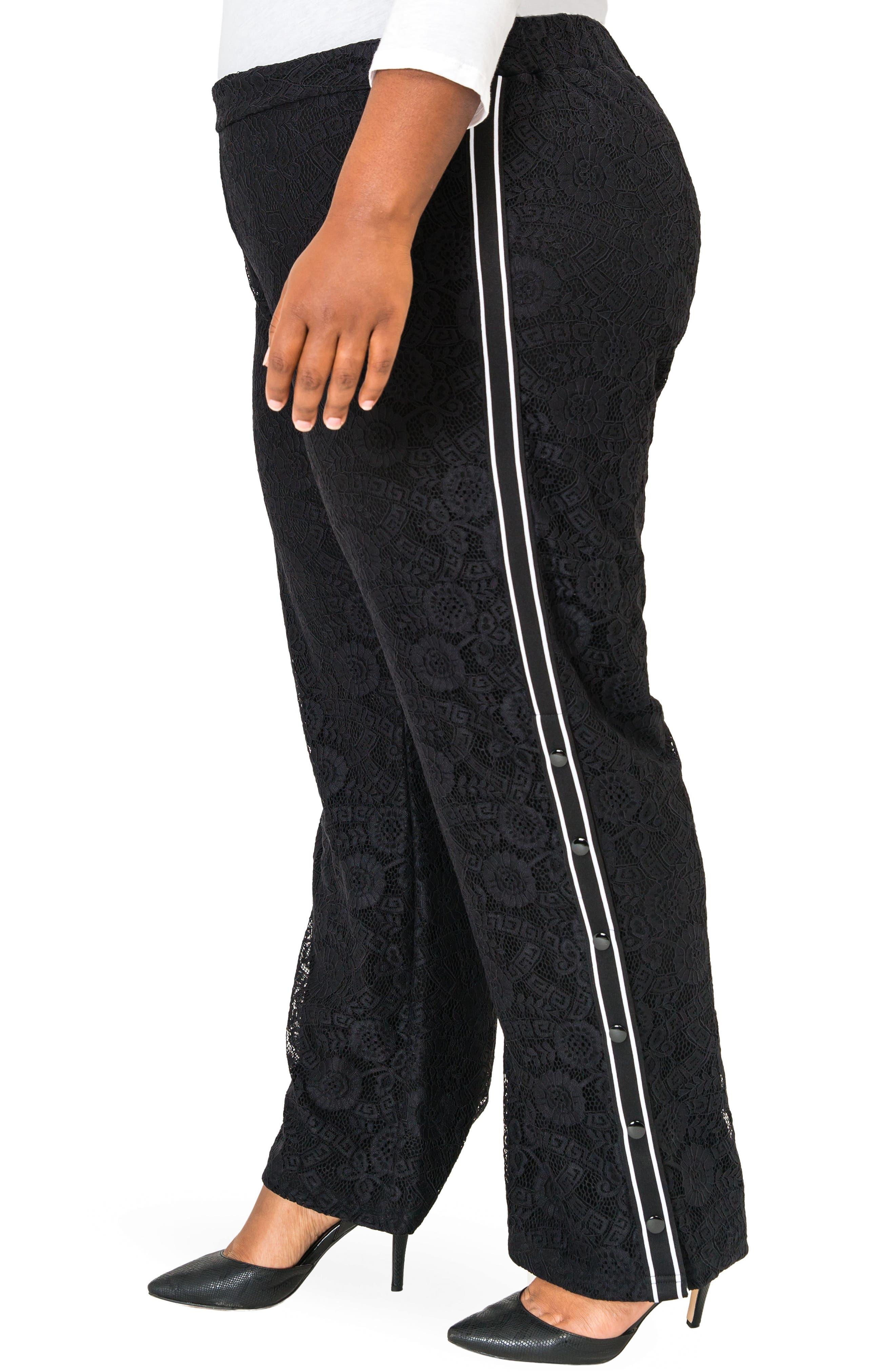 POETIC JUSTICE, Cornella High Rise Lace Knit Track Pants, Alternate thumbnail 3, color, BLACK