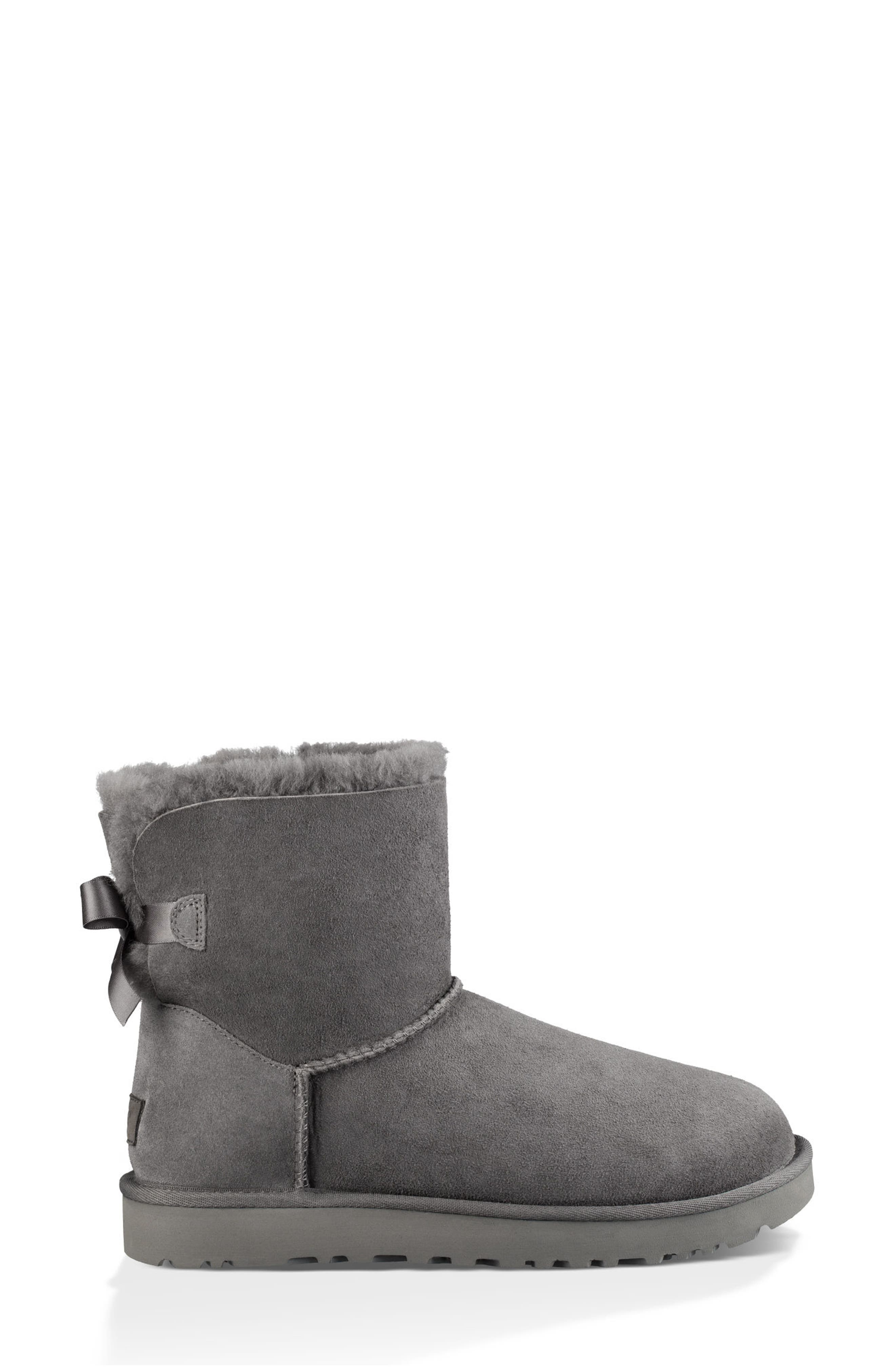 UGG<SUP>®</SUP>, Mini Bailey Bow II Genuine Shearling Bootie, Alternate thumbnail 3, color, GREY SUEDE