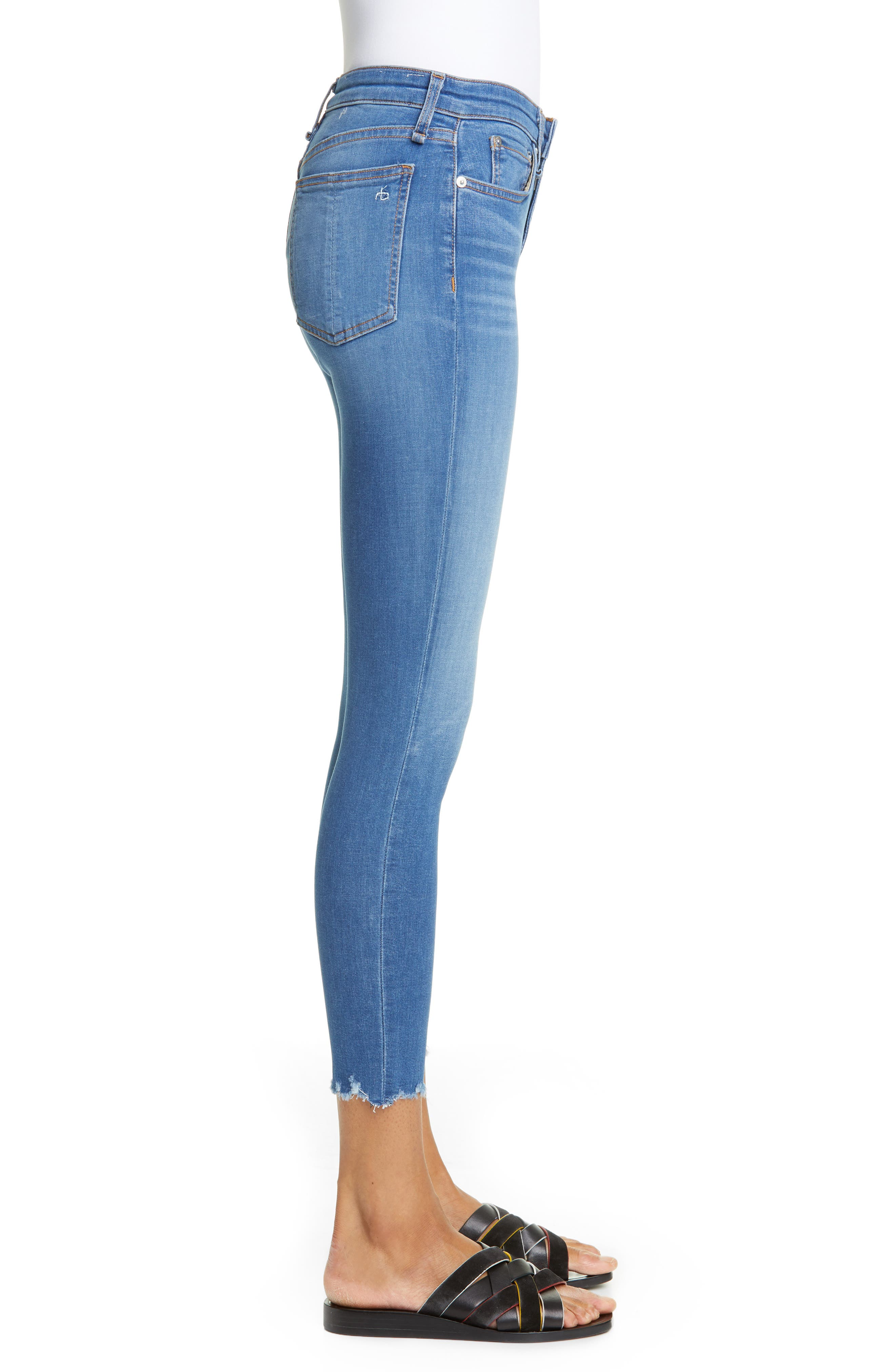 RAG & BONE, Cate High Waist Ankle Skinny Jeans, Alternate thumbnail 4, color, FLINT