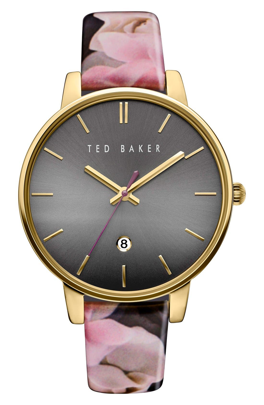 TED BAKER LONDON, Leather Strap Watch, 40mm, Main thumbnail 1, color, 001