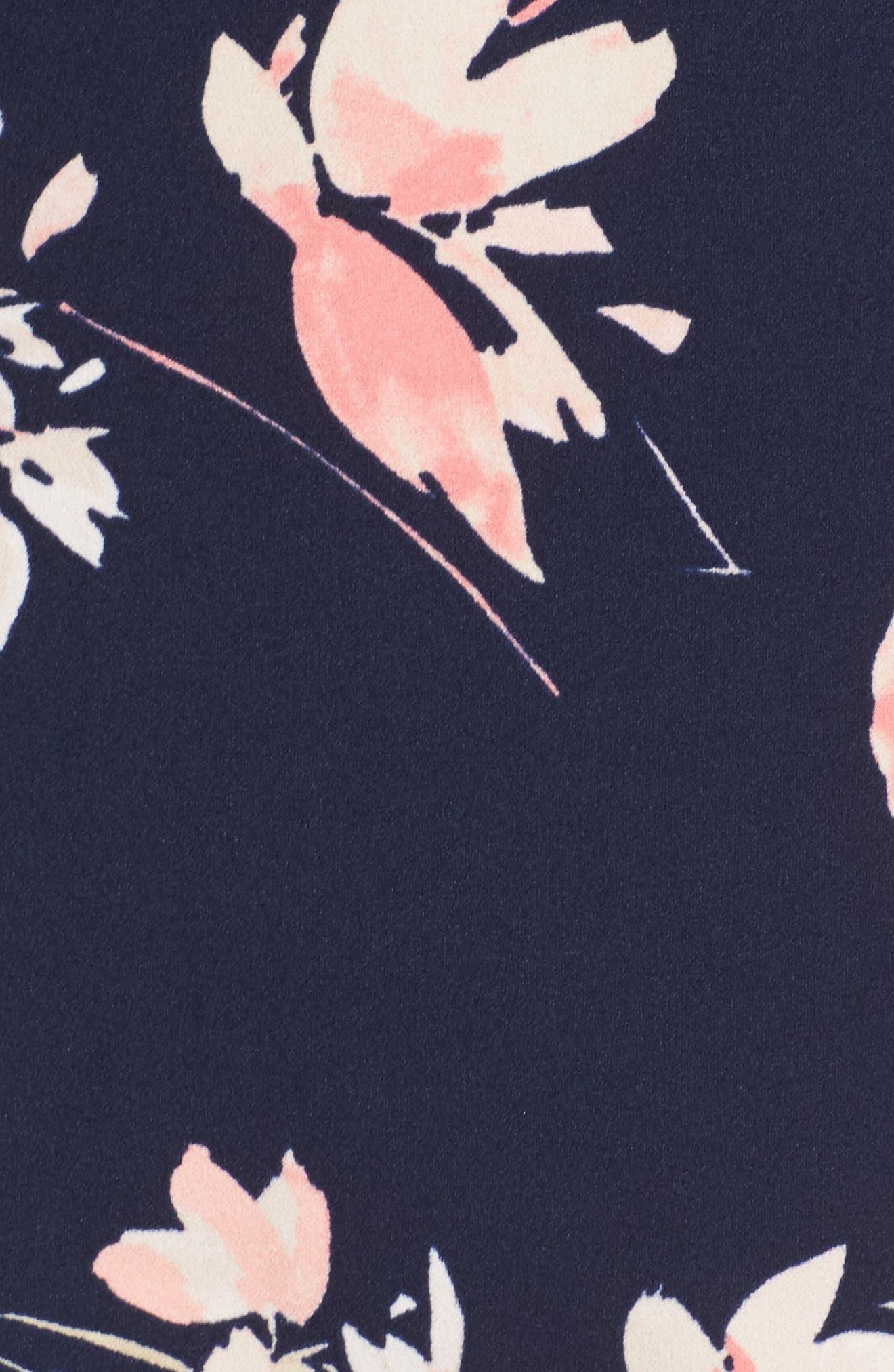 ELIZA J, Floral Print Bell Sleeve Shift Dress, Alternate thumbnail 5, color, NAVY/ PINK