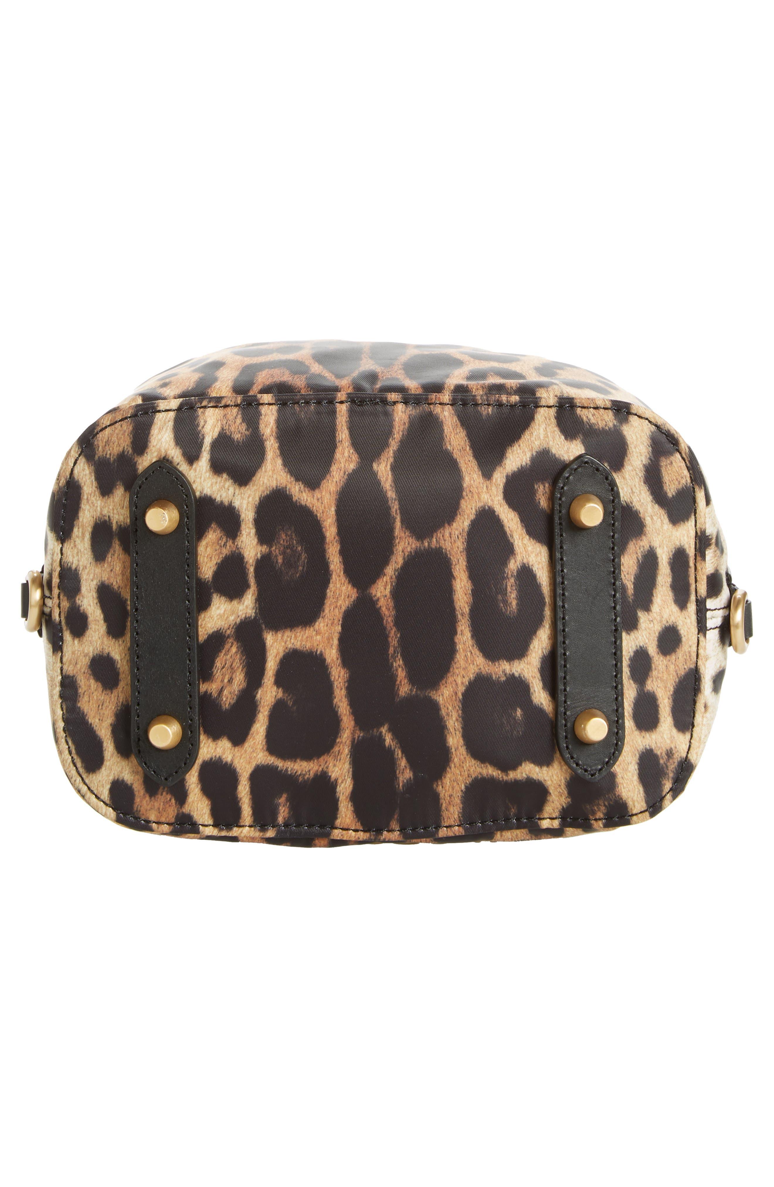 MOSCHINO, Leopard Print Nylon Convertible Bucket Bag, Alternate thumbnail 7, color, BLACK